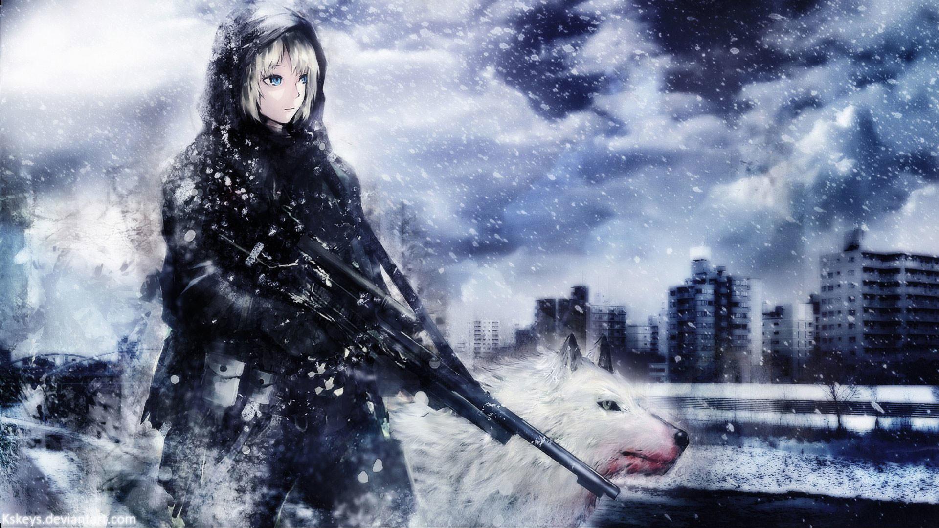 hd pics photos stunning girl white wolf gun weapon 3d animated hd quality desktop  background wallpaper