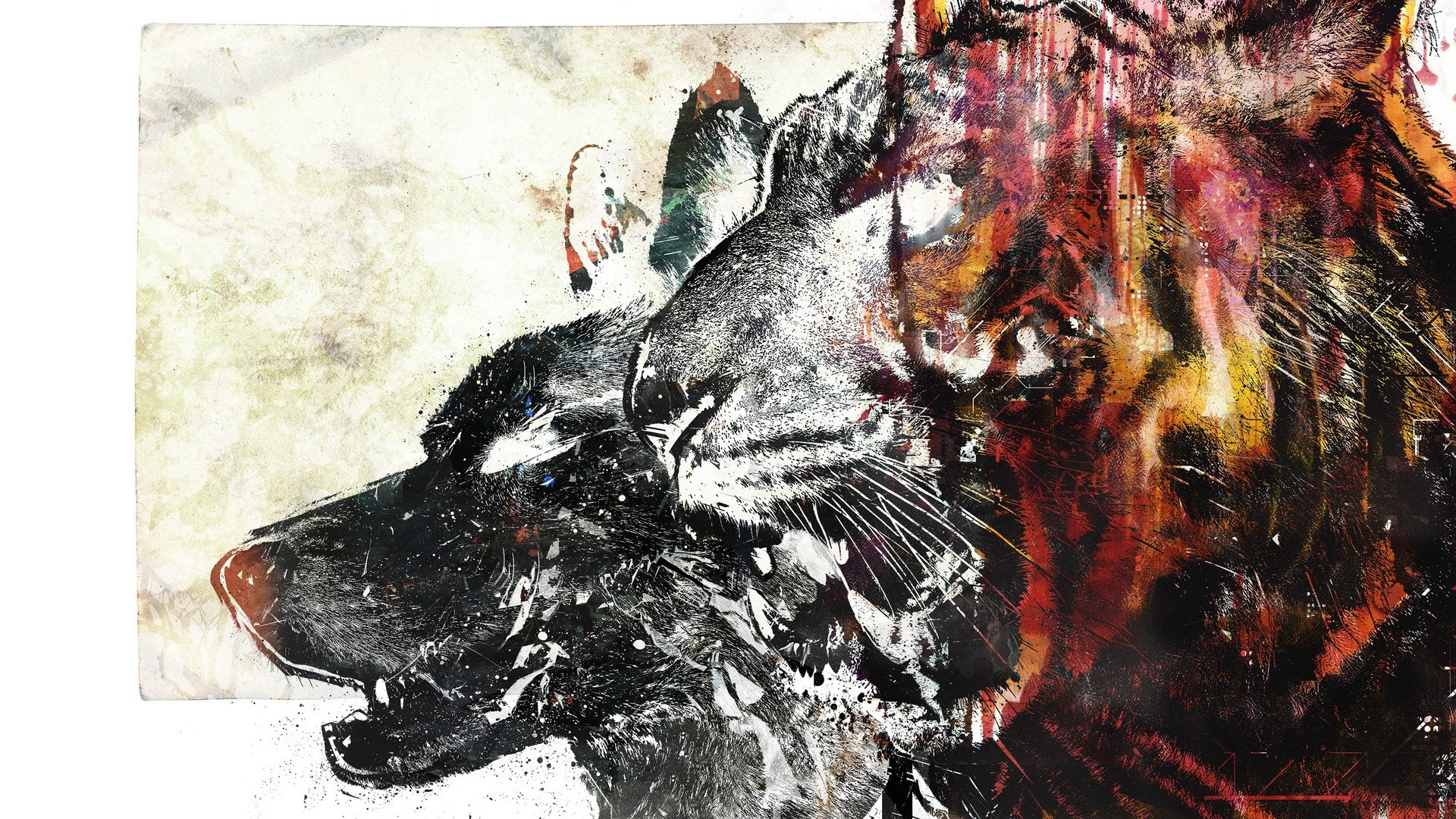 Preview wallpaper wolf, tiger, drawing, white, red 1920×1080