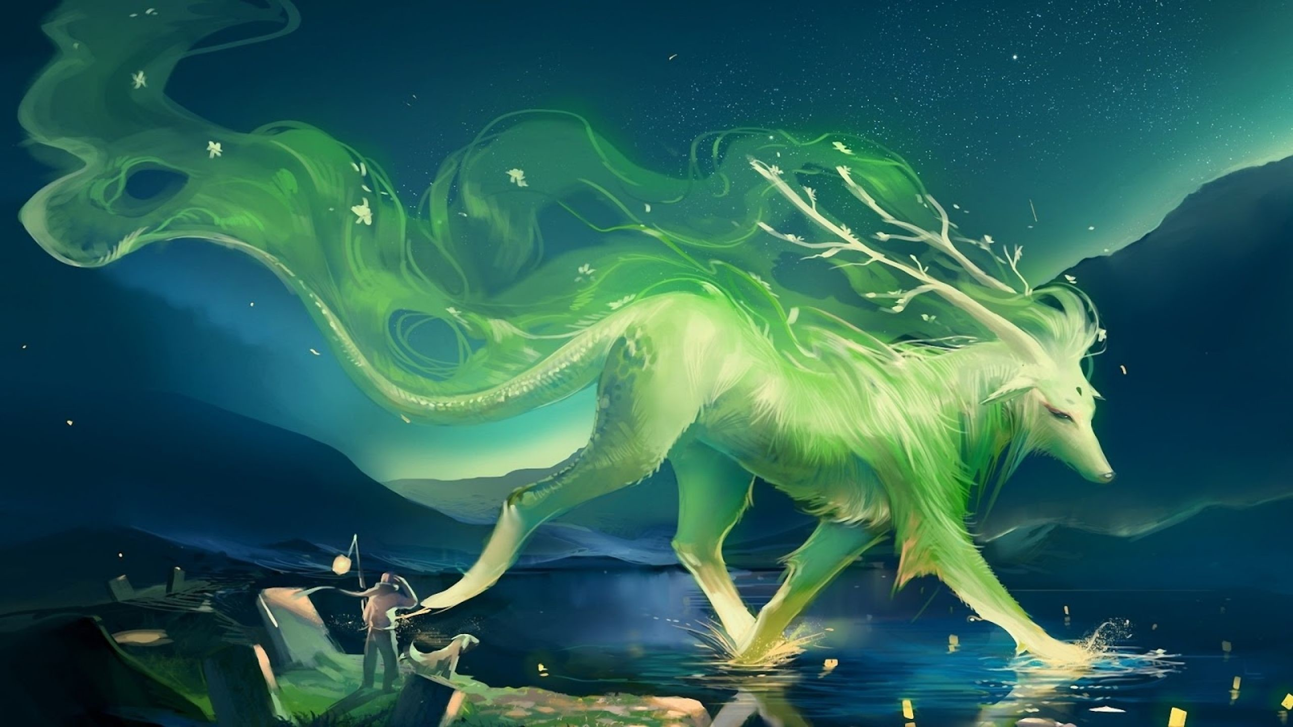 Desktop fantasy wolf wallpaper