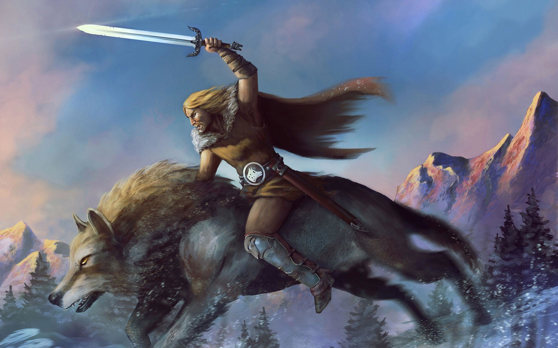 HD Warrior riding the wolf Wallpaper