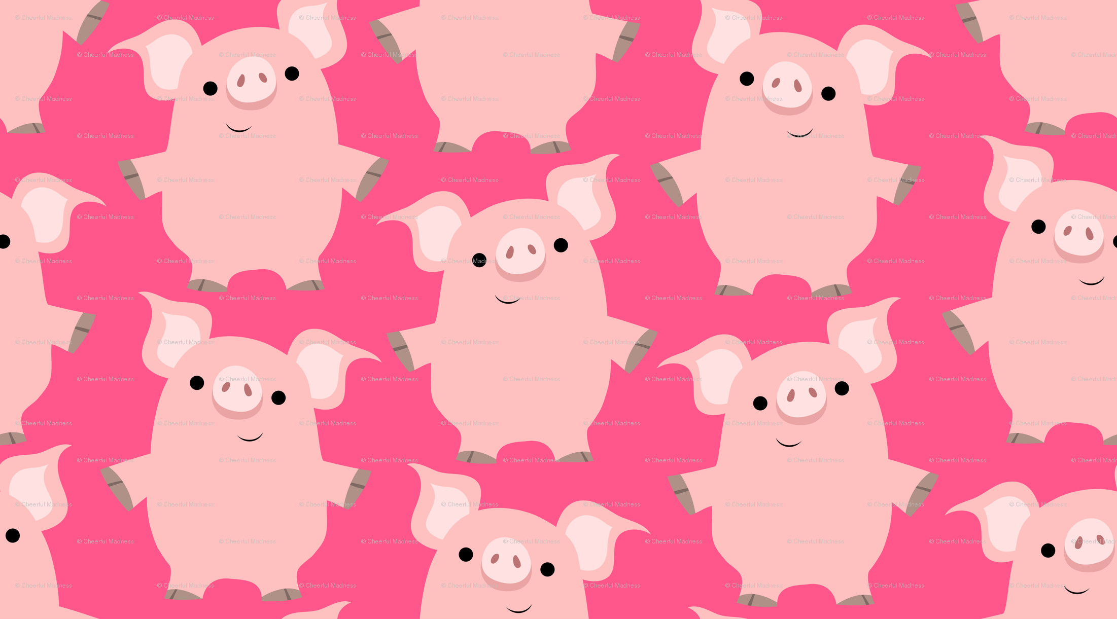 Cute Friendly Cartoon Pigs by Cheerful Madness!! wallpaper –  cheerfulmadness_cartoons – Spoonflower