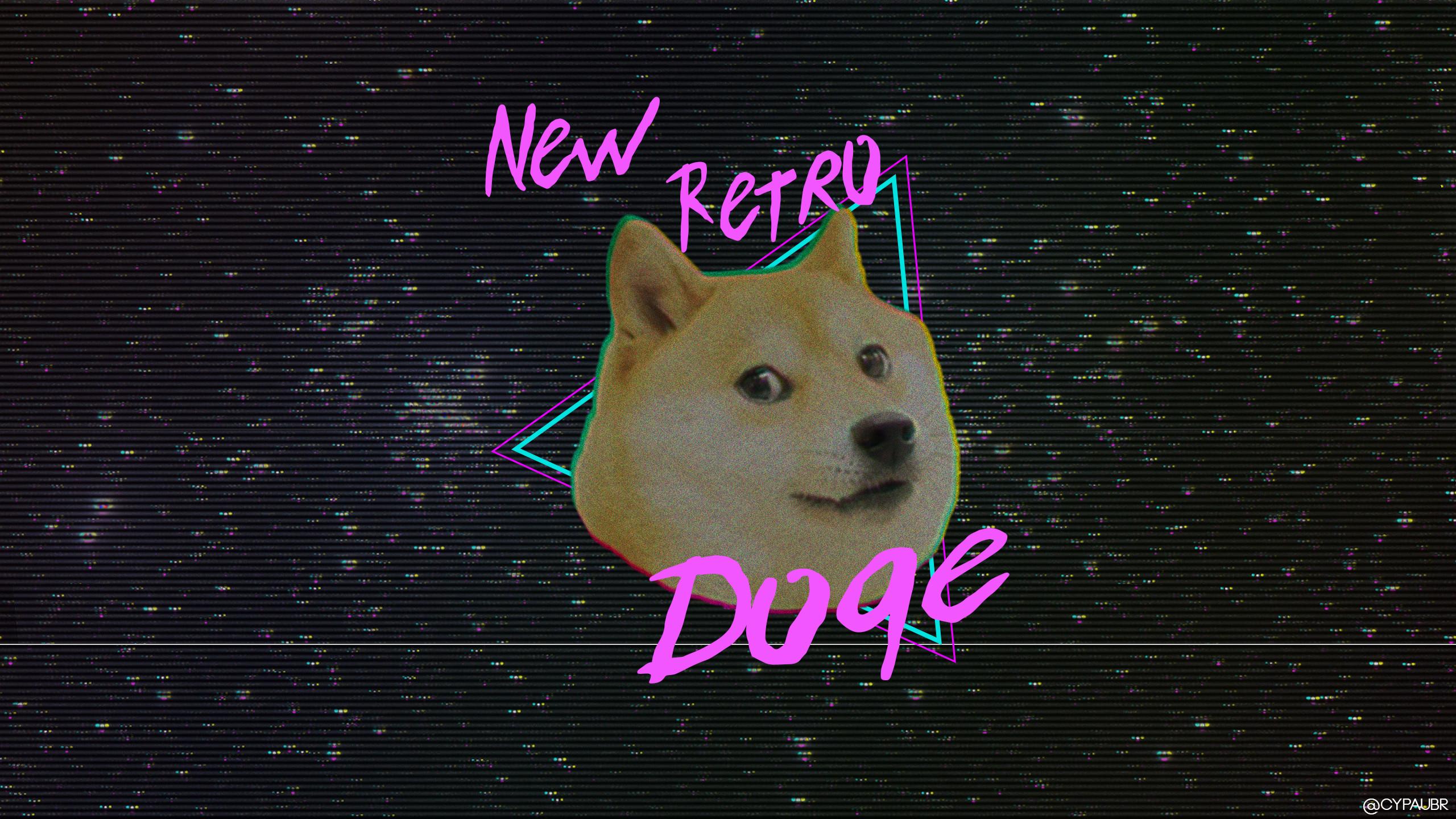 Artistic – Retro Wave Doge Meme Dog Wallpaper