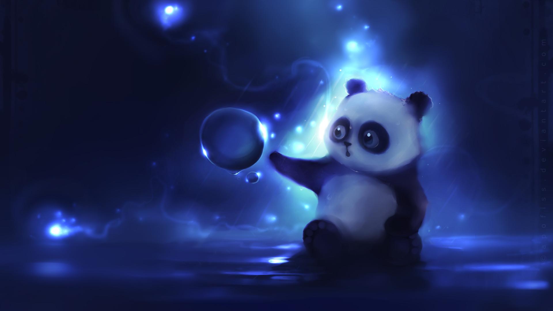 Preview wallpaper panda, art, apofiss, night 1920×1080
