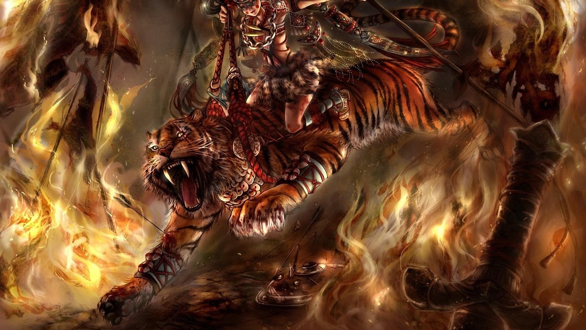 … Background Full HD 1080p. Wallpaper tiger, horsewoman, girl,  fire, jump