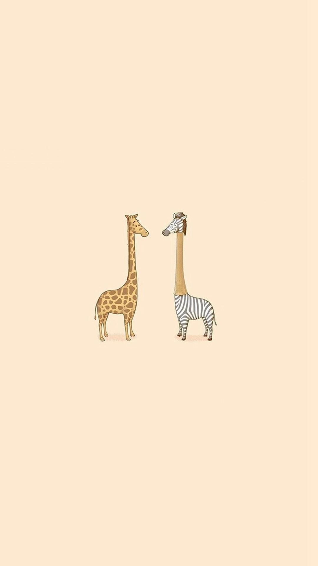 Cute Giraffe Yellow Animal Minimal iPhone 8 wallpaper