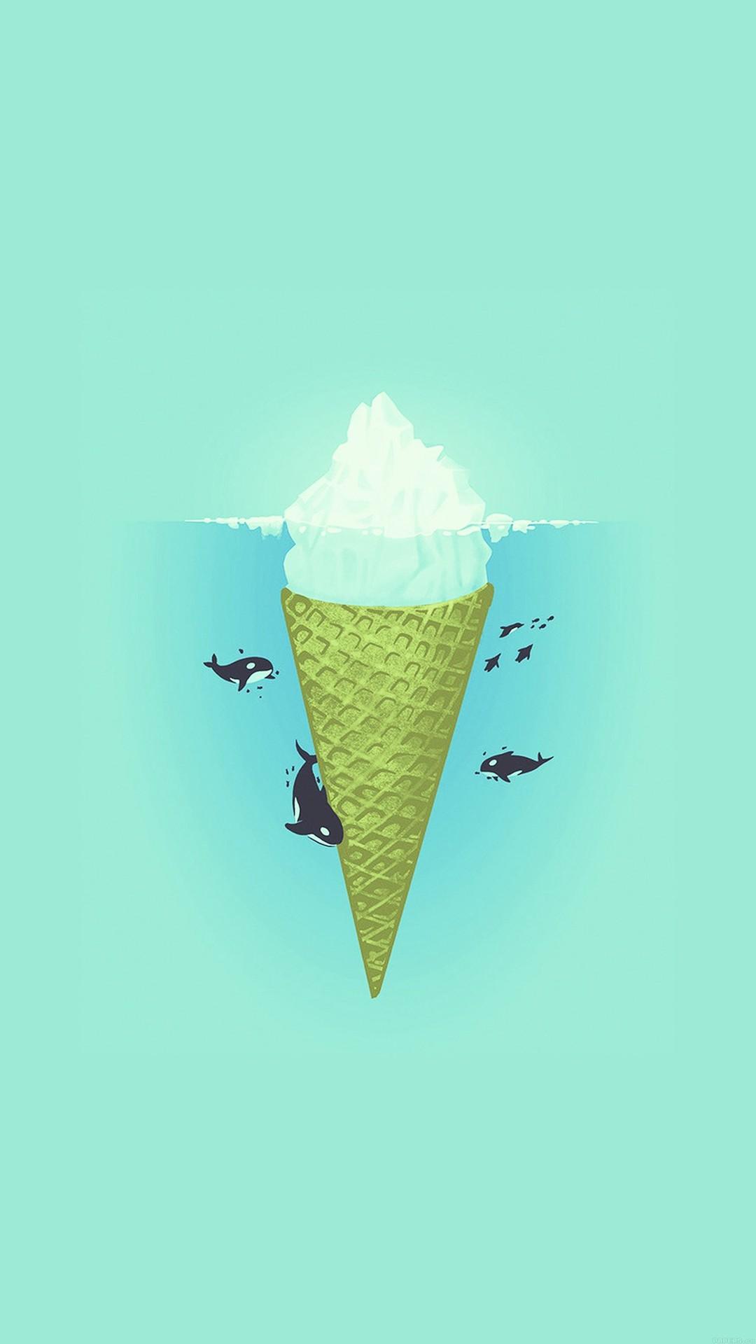 Whale Illust Green Sea Icecream Iiceberg iPhone 6 wallpaper