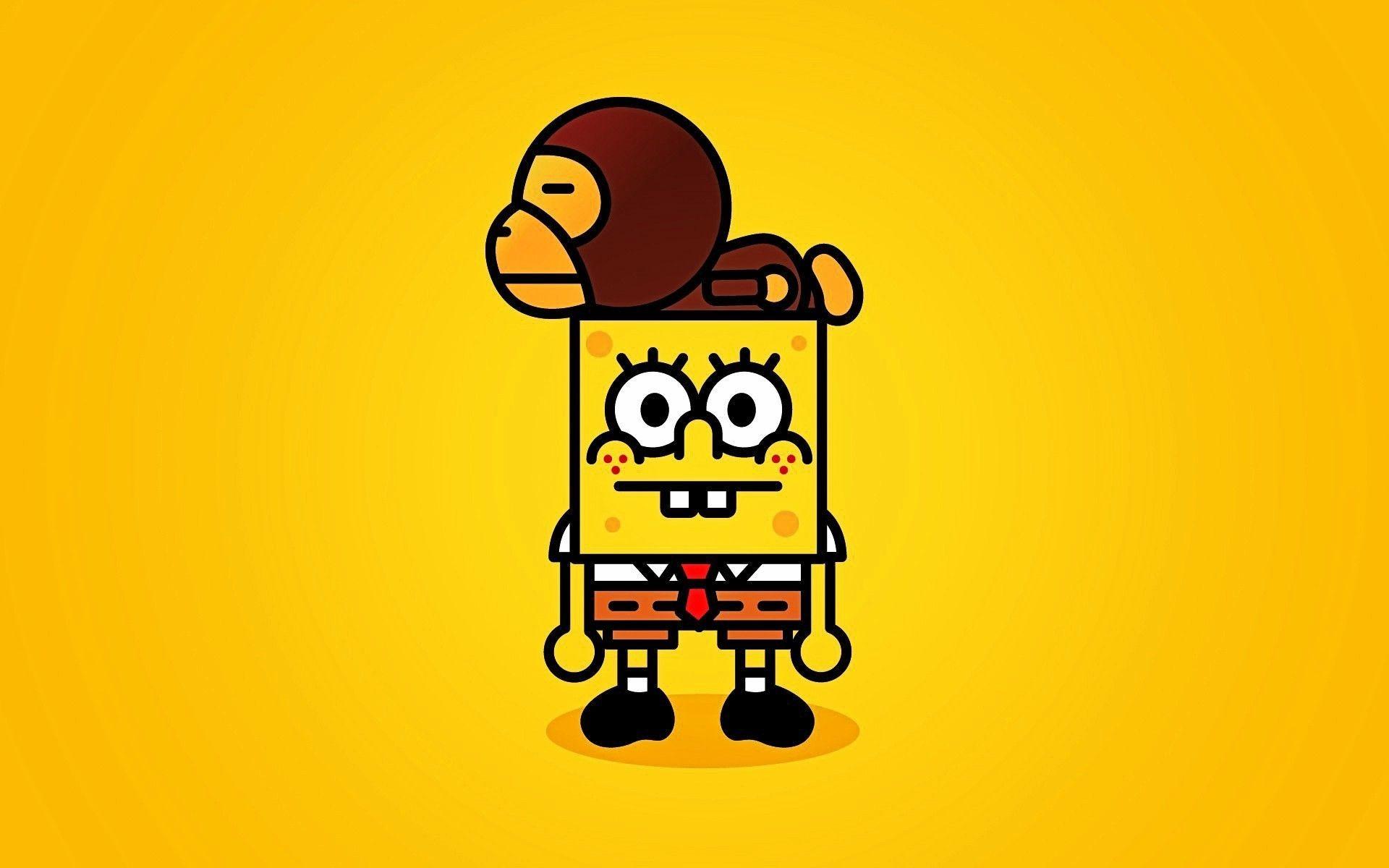 Funny Wallpaper SpongeBob and Monkey