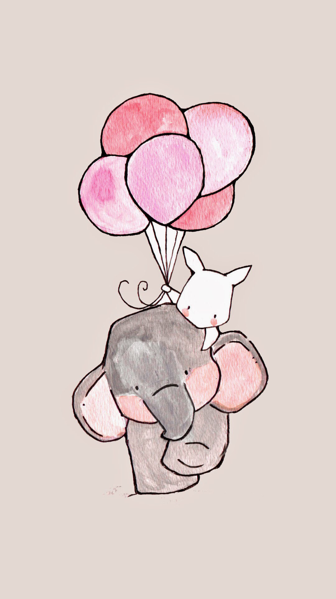 iphone wallpaper girly elephant and rabbit.