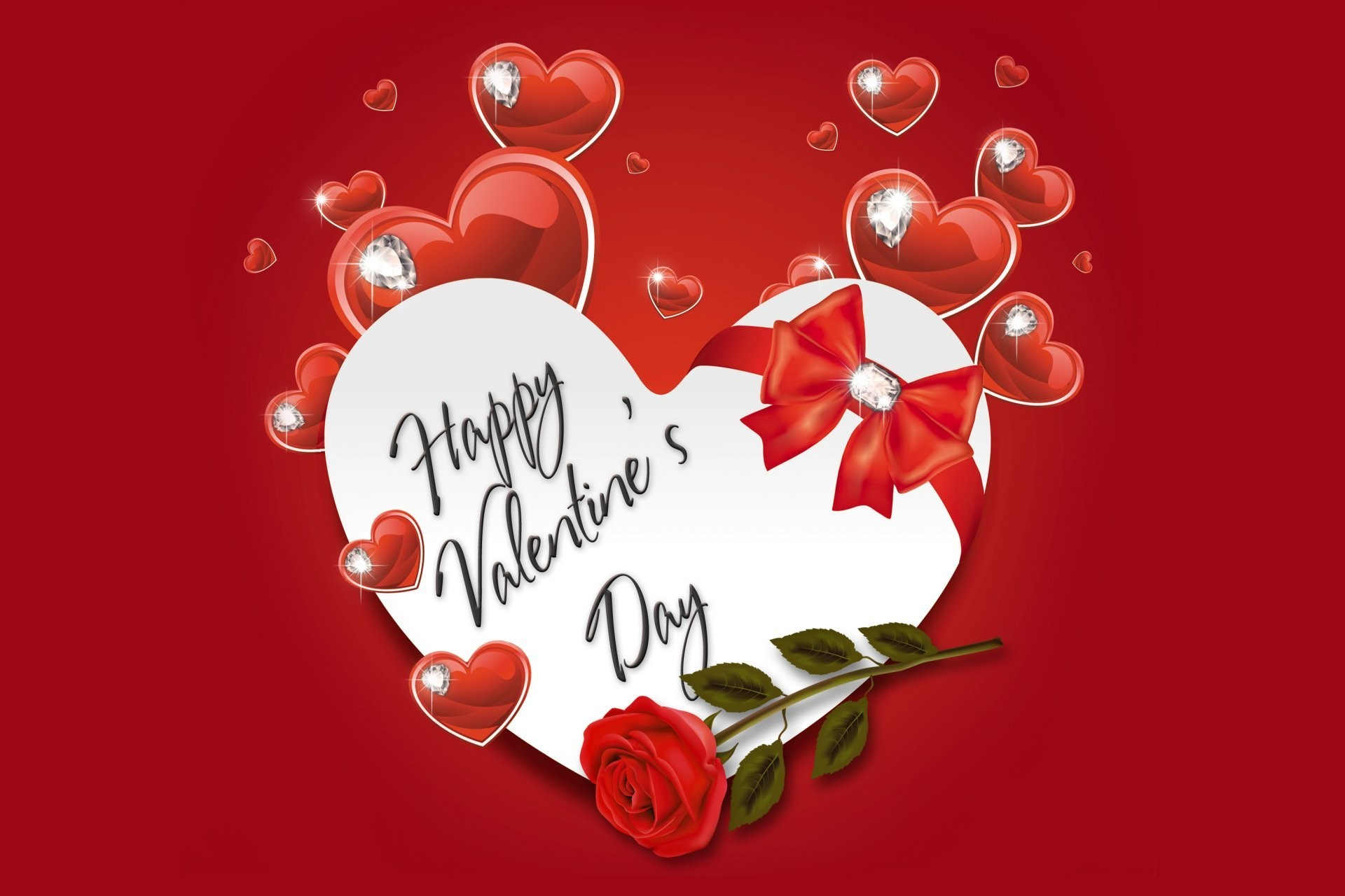 happy valentine's day love heart romantic rose heart heart diamonds bow