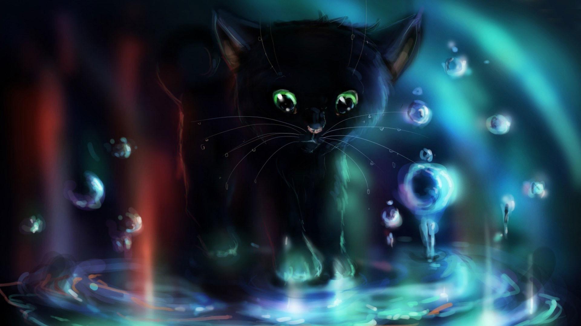 hd pics photos attractive black cat water 2d animated cartoon hd quality desktop  background wallpaper