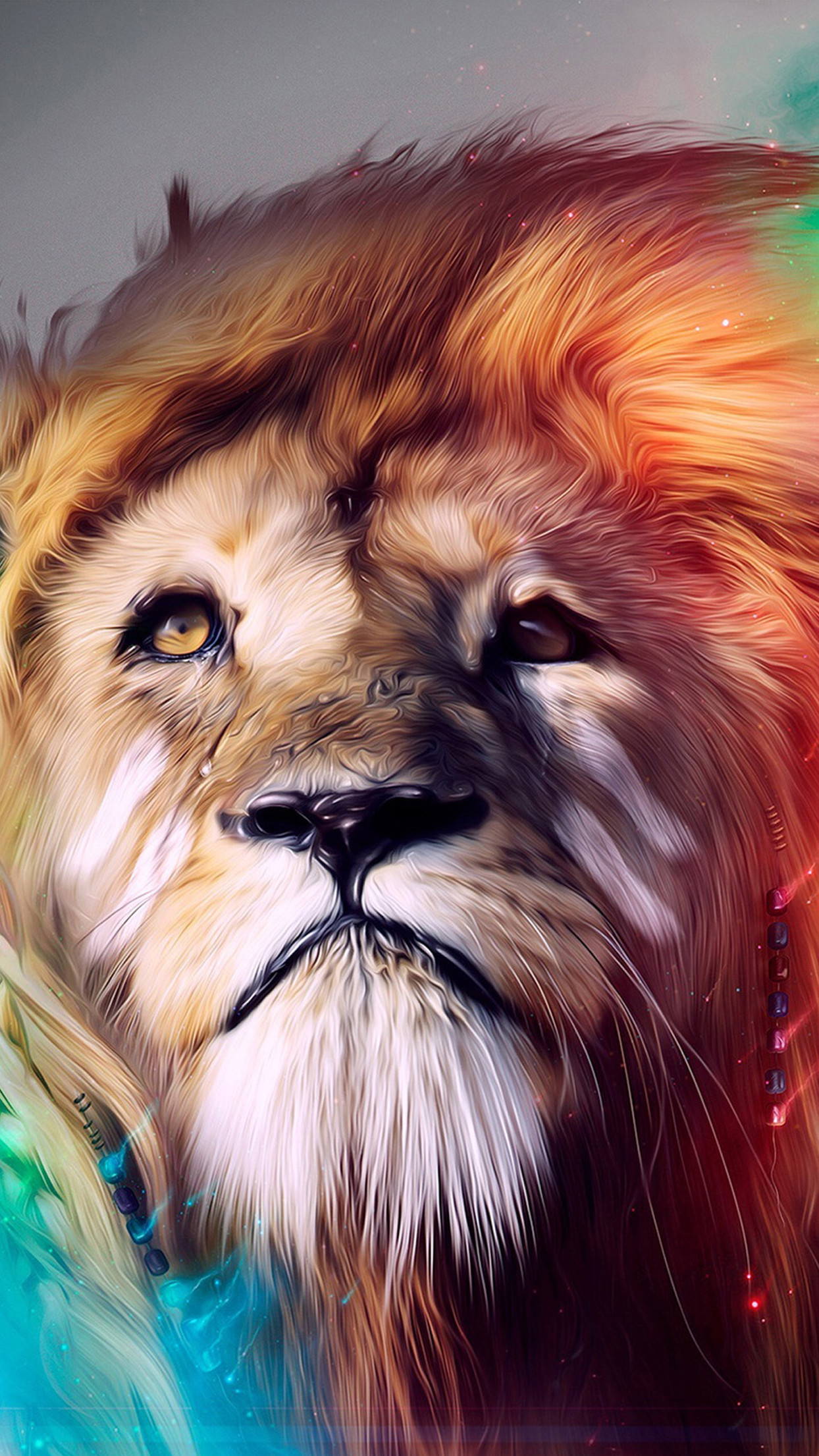 Red, Turquoise, orange, lion, abstract, apple, wallpaper, iPhone,