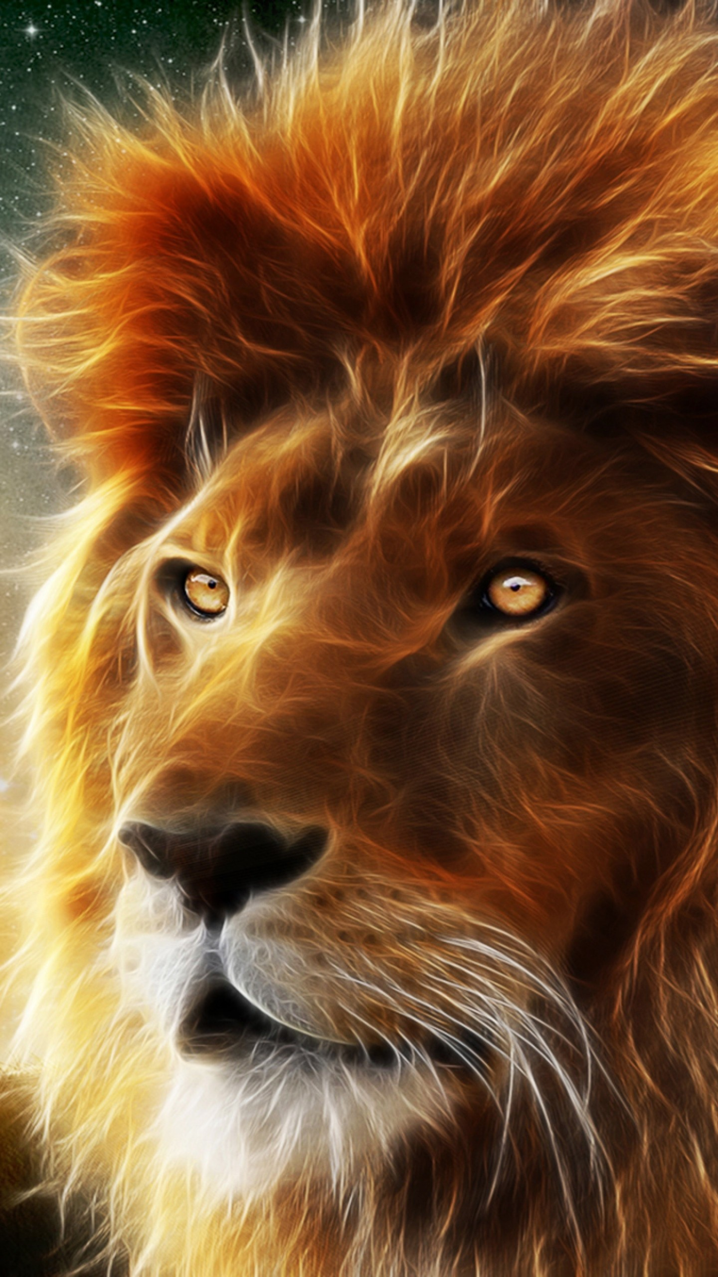 Preview wallpaper lion, face, mane, king of beasts, abstraction 1440×2560