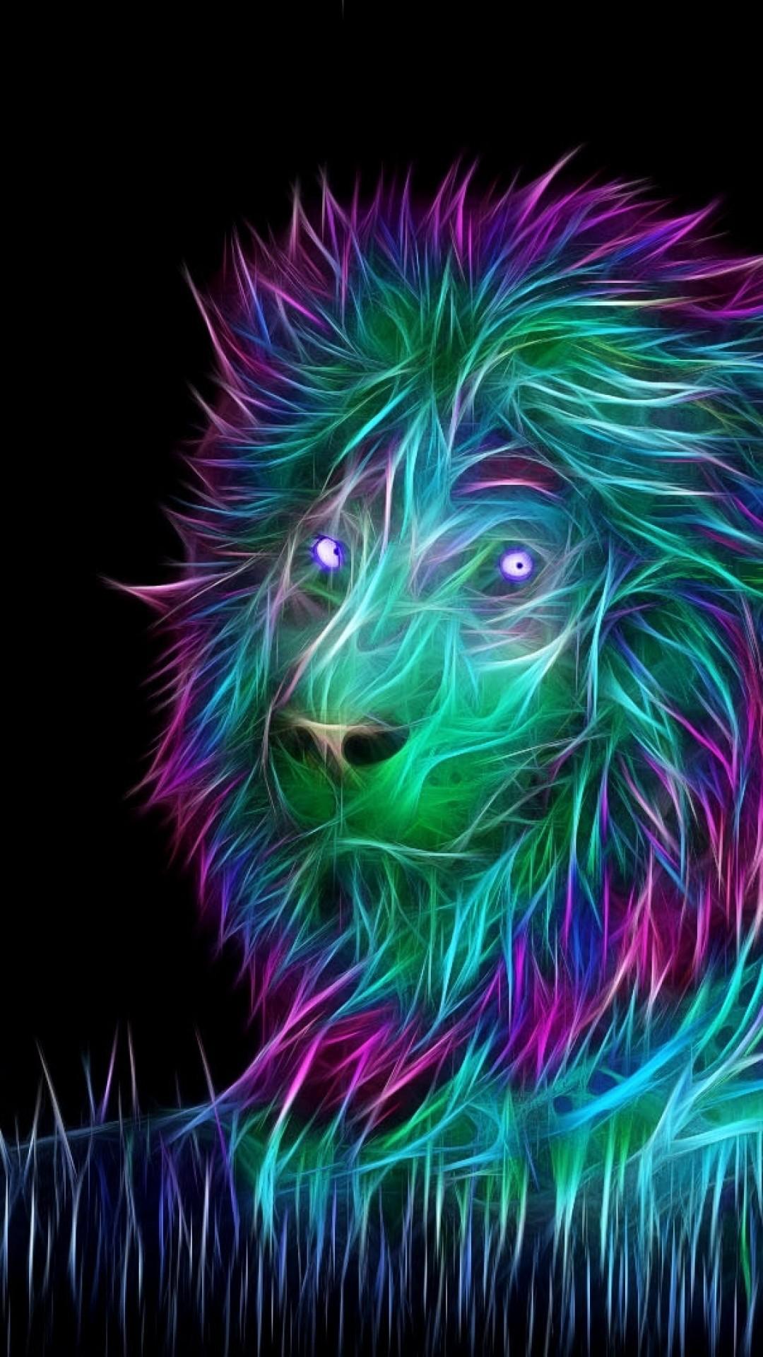 Abstract 3D Art Lion iPhone 8 wallpaper