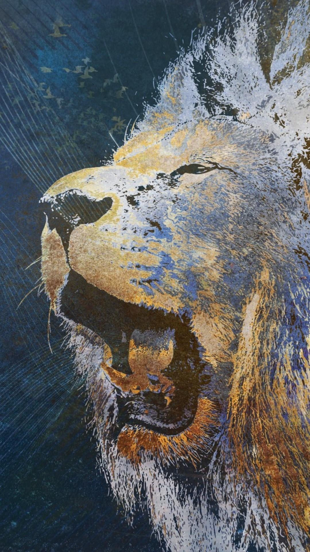 Wallpaper lion, grin, image, background