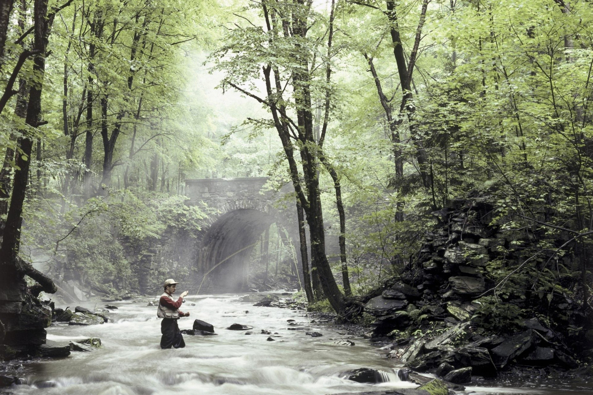 1920×1200 Fishing in the river desktop PC and Mac wallpaper