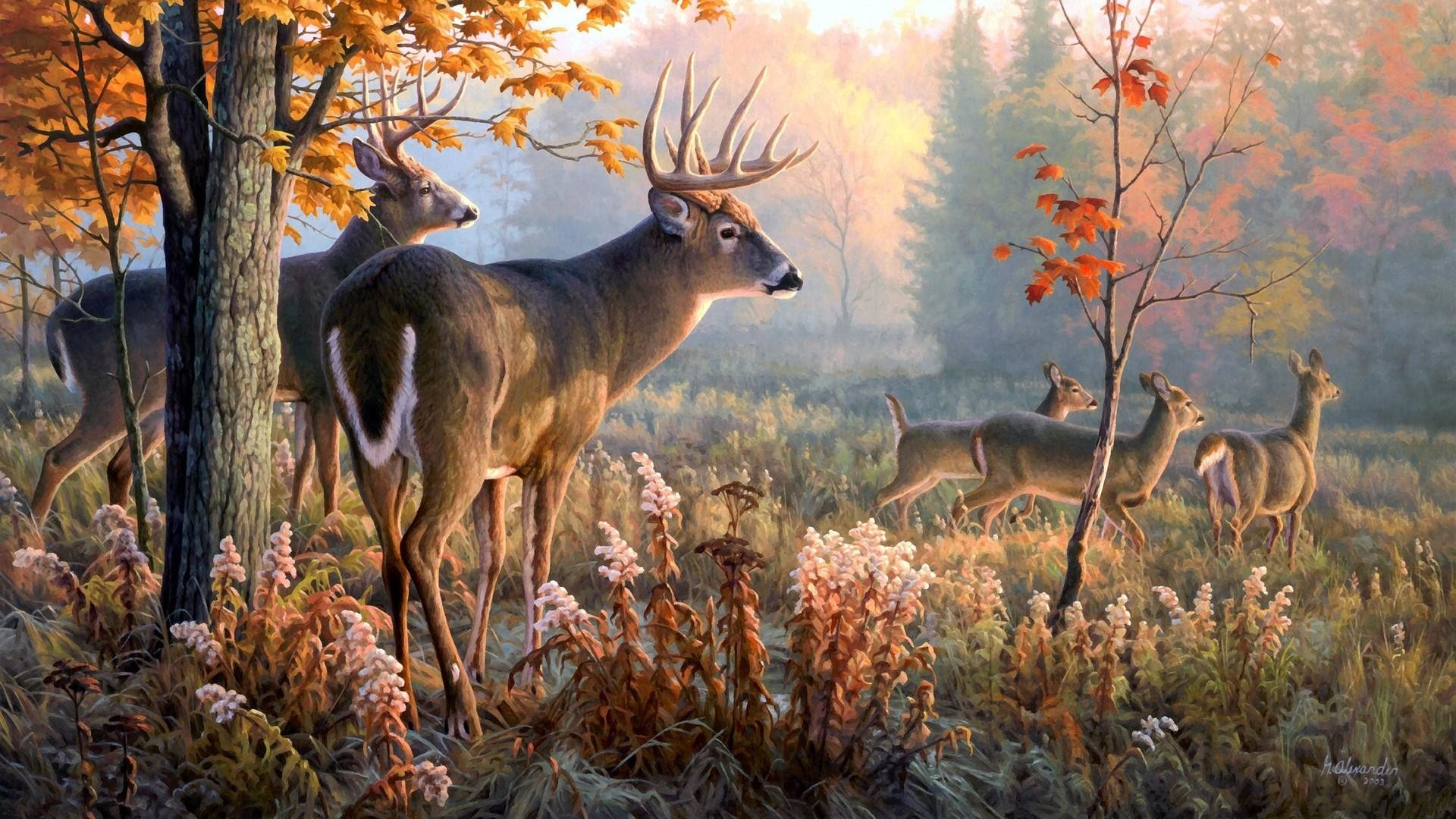 Deers in the forest – Nature painting art wallpaper