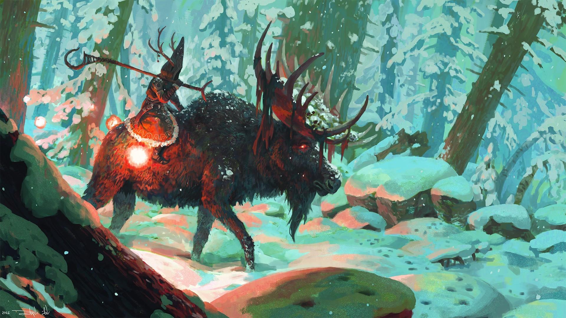 artwork, Fantasy Art, Deer, Wizard, Animals, Forest, Snow, Horns Wallpapers  HD / Desktop and Mobile Backgrounds