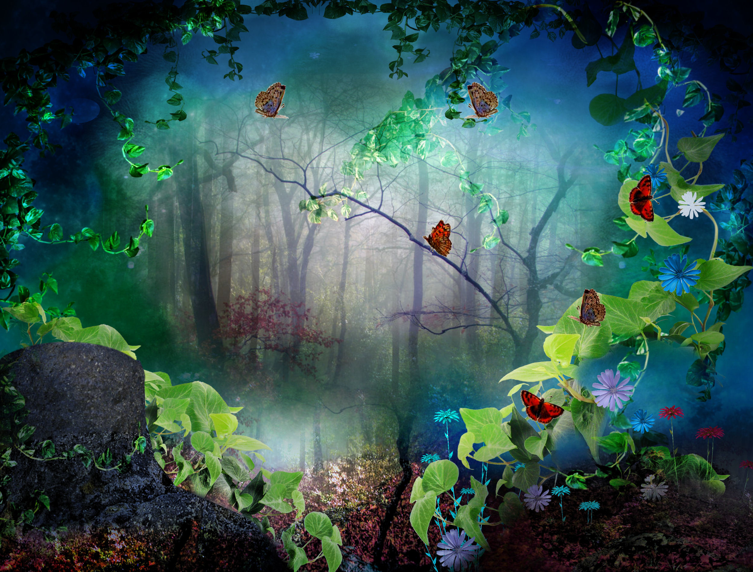 Butterfly Forest Background Wallpaper