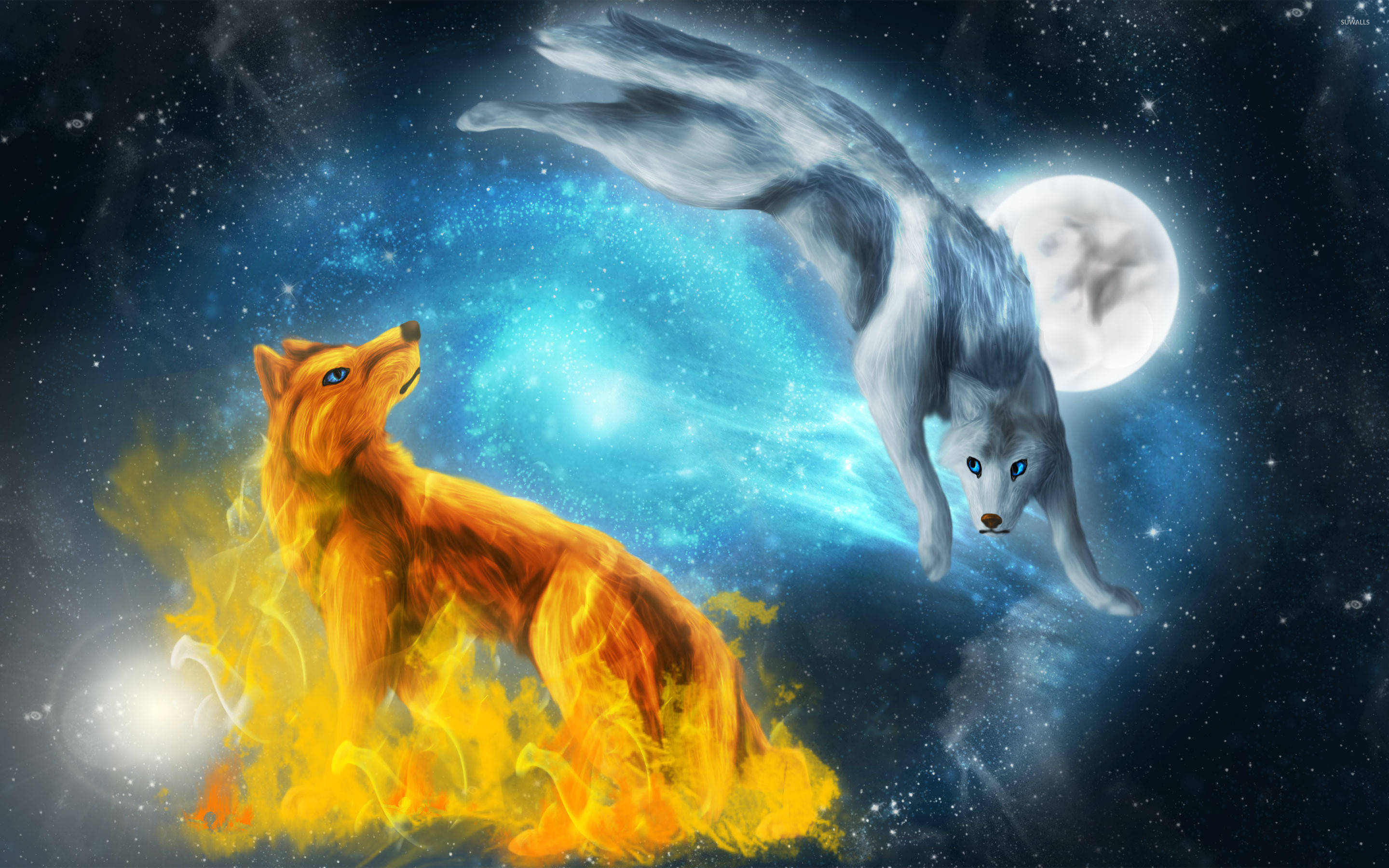Fire and ice wolves wallpaper jpg