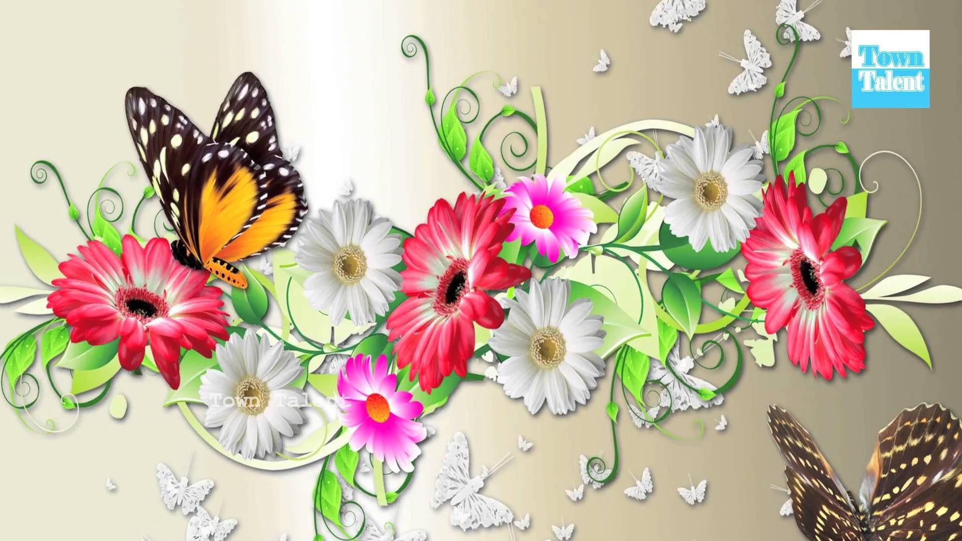 Differet flowers and beautiful butterfly wallpaper