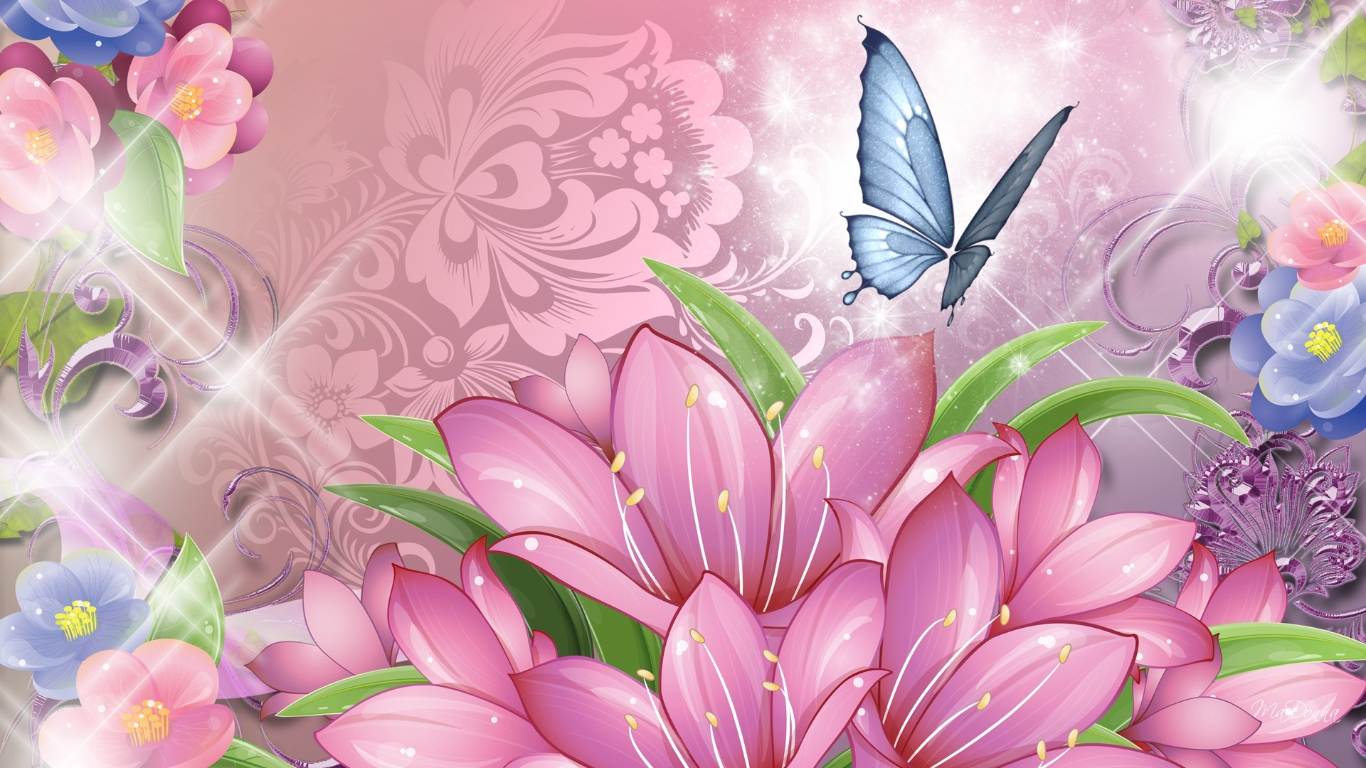 Blue Butterfly and Pink Flowers Wallpaper HD