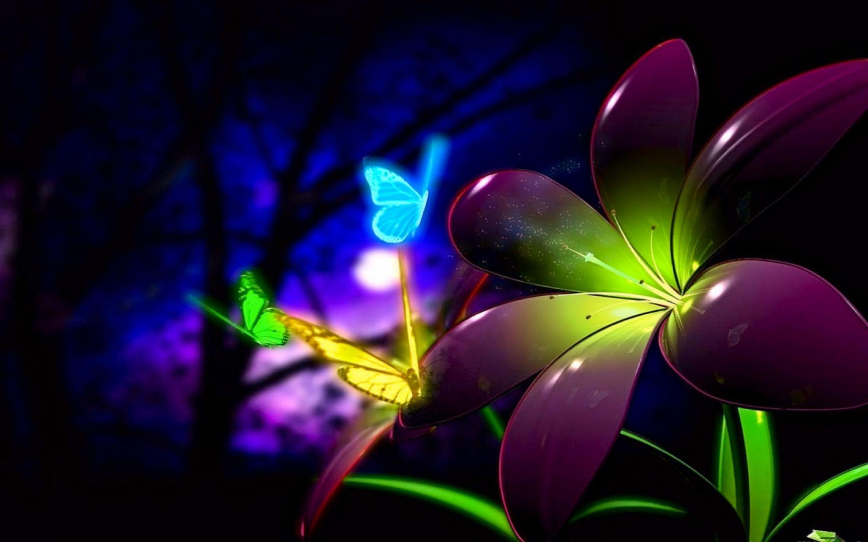 Purple flower Digital Art HD desktop wallpaper, Butterfly wallpaper,  Blossom wallpaper – Digital Art no.