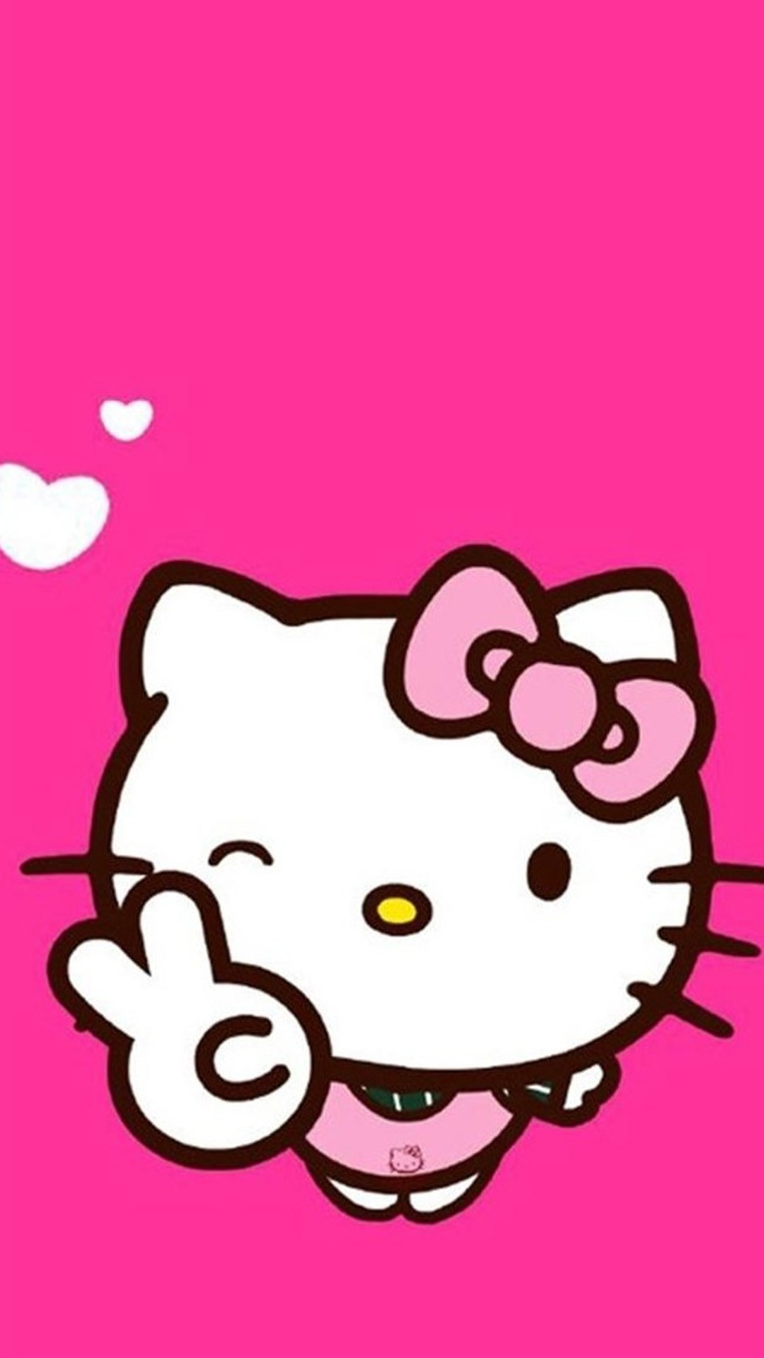 Cute wallpaper for Whatsapp featuring Hello Kitty in pink.