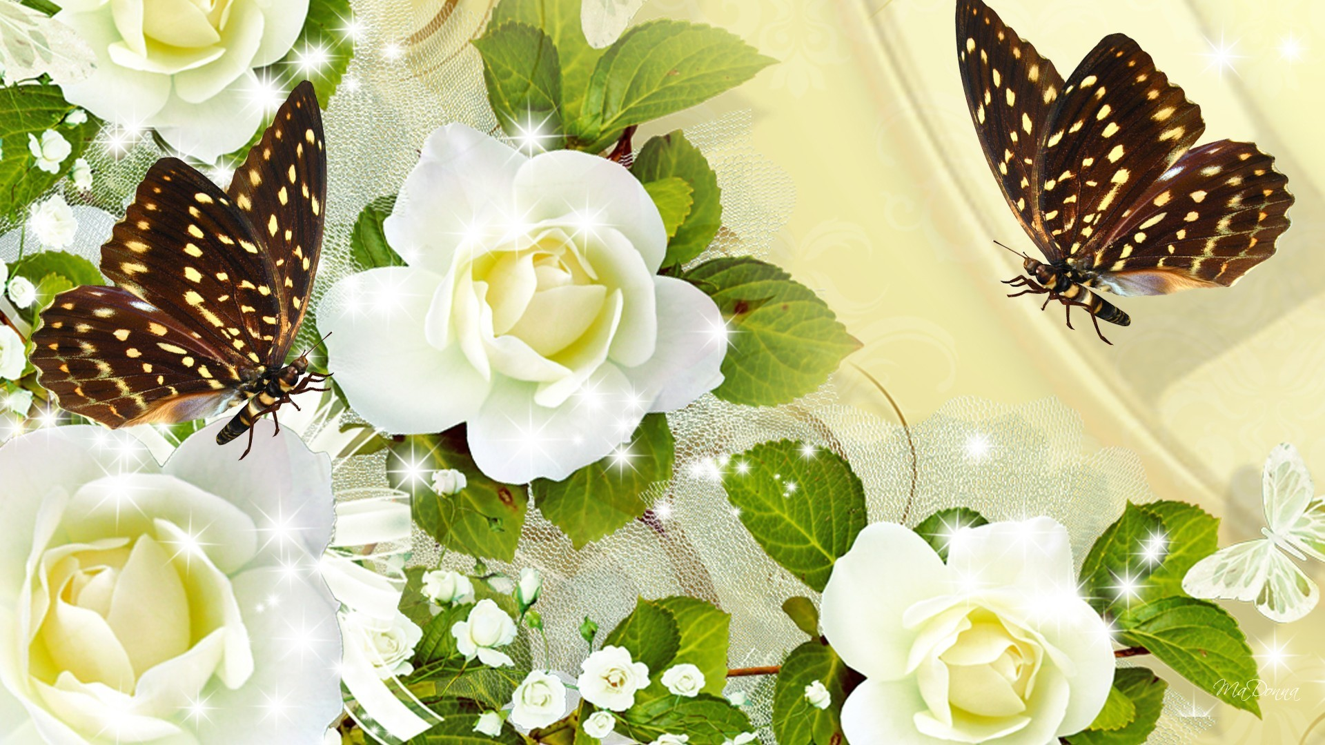 Babies Tag – Glitz Breath Summer Sparkle Papillon Fleurs Flowers Silk Ivory  Satin Butterfly Flash Roses