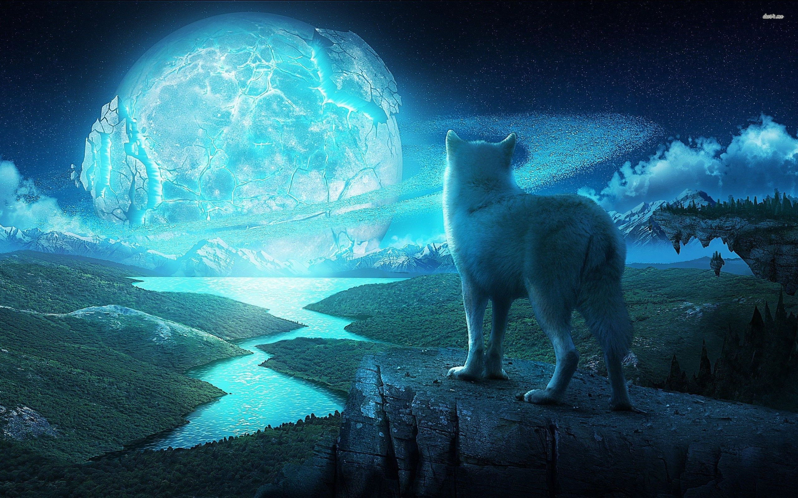 moon wallpaper Ice Wolf Wallpapers