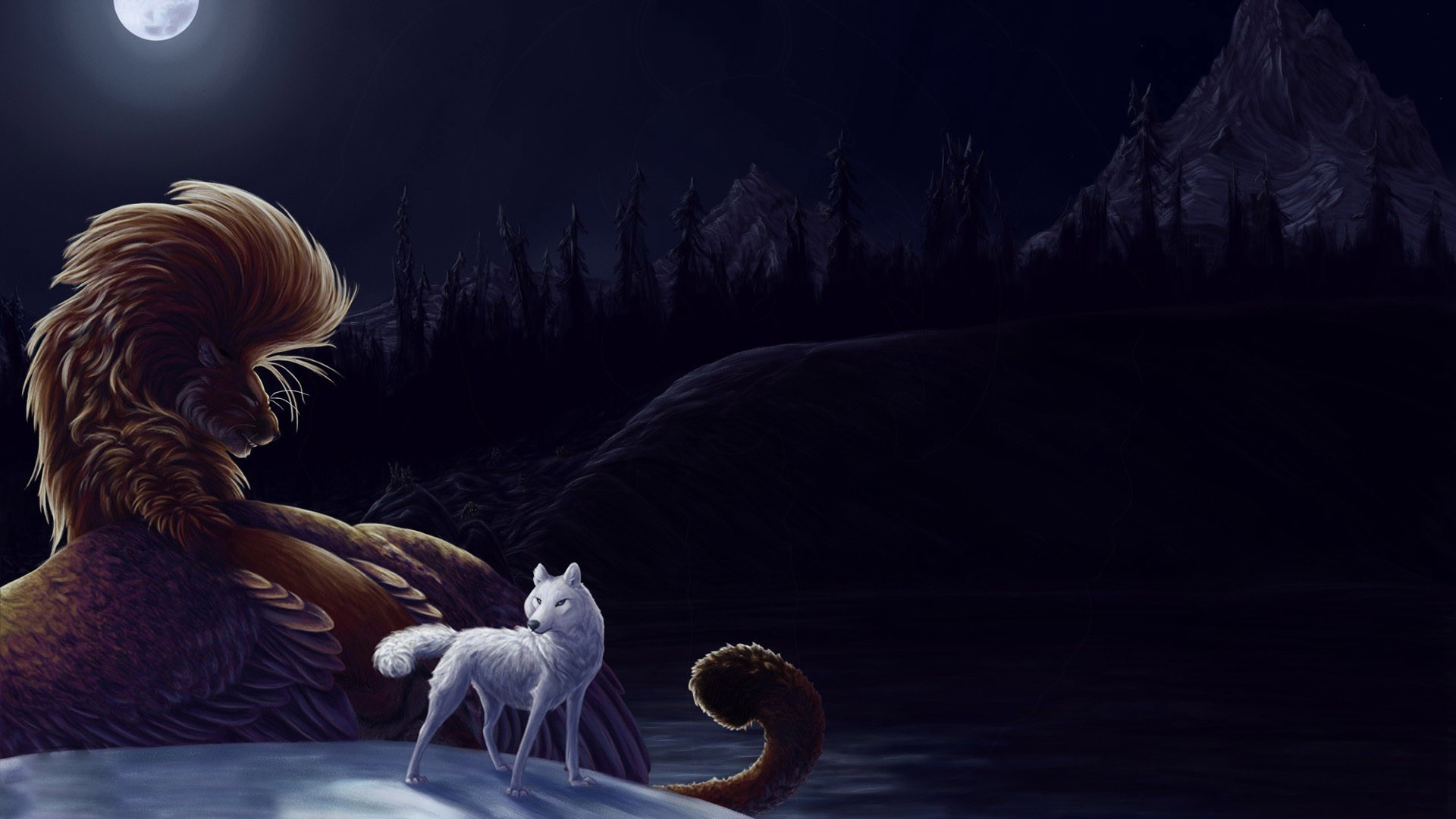 Wolf and lion wallpaper – 432787 Fire And Ice Wolf Wallpaper