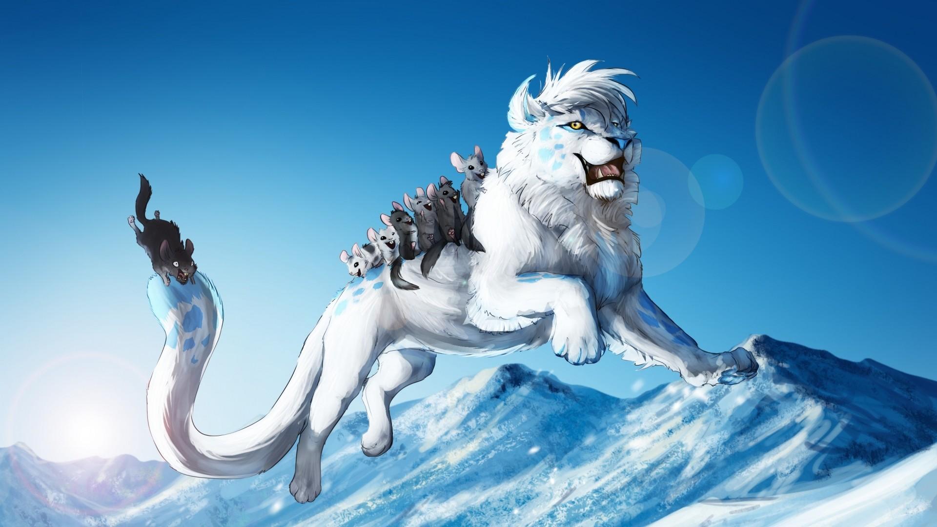 Wallpaper white lion, animals, games, fun, jump, winter, snow