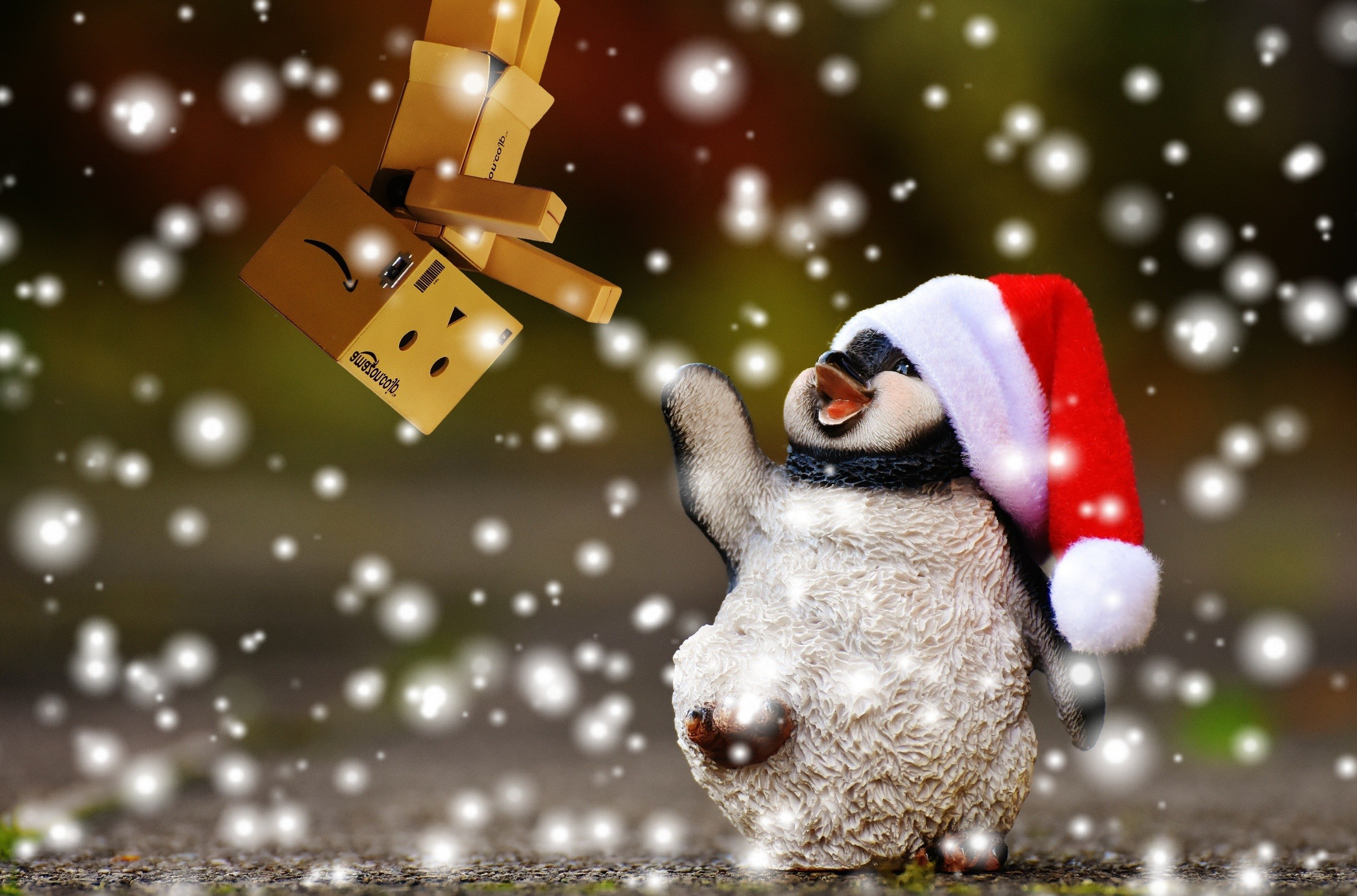 snow animal cute decoration ceramic holiday christmas christmas tree  penguin christmas decoration santa hat fun figure
