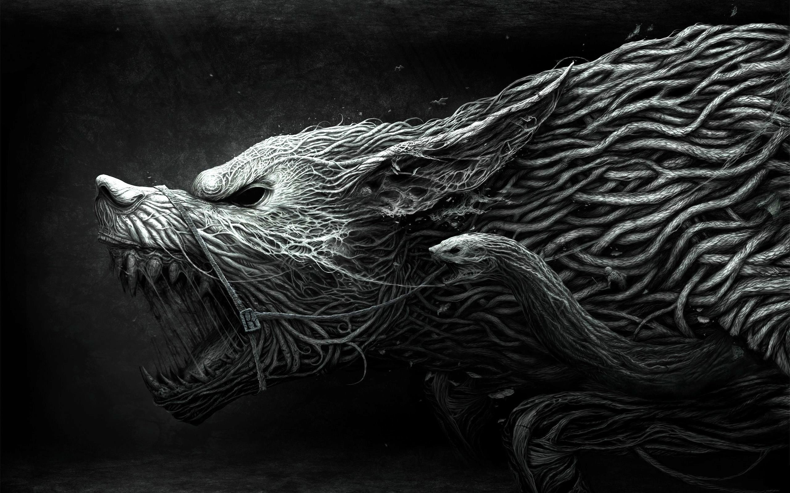 3d & Abstract,Bush,Dark,Wolf high quality wallpapers