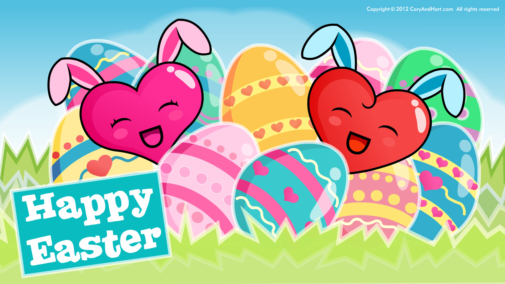 Happy easter eggs and bunnies