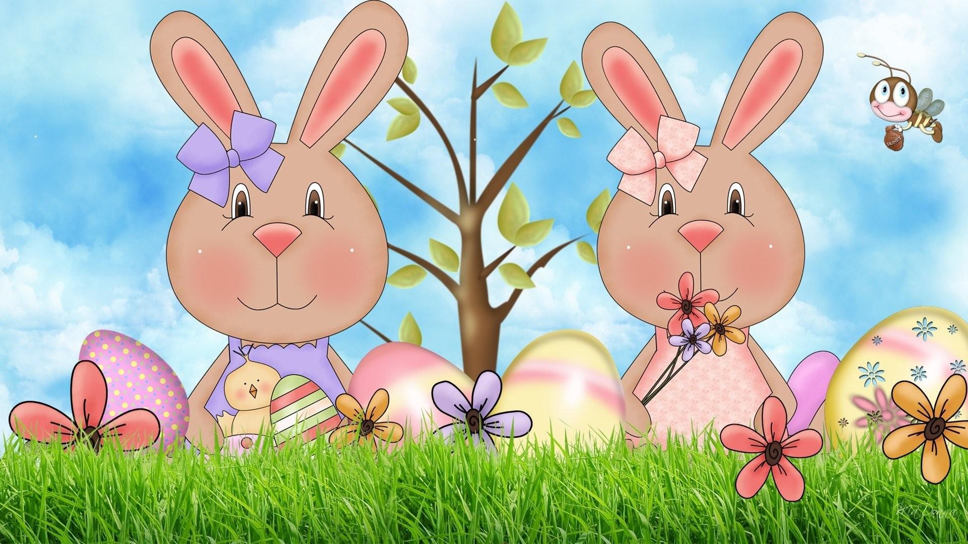 Wallpaper desktop love cartoon elf rabbit easter.