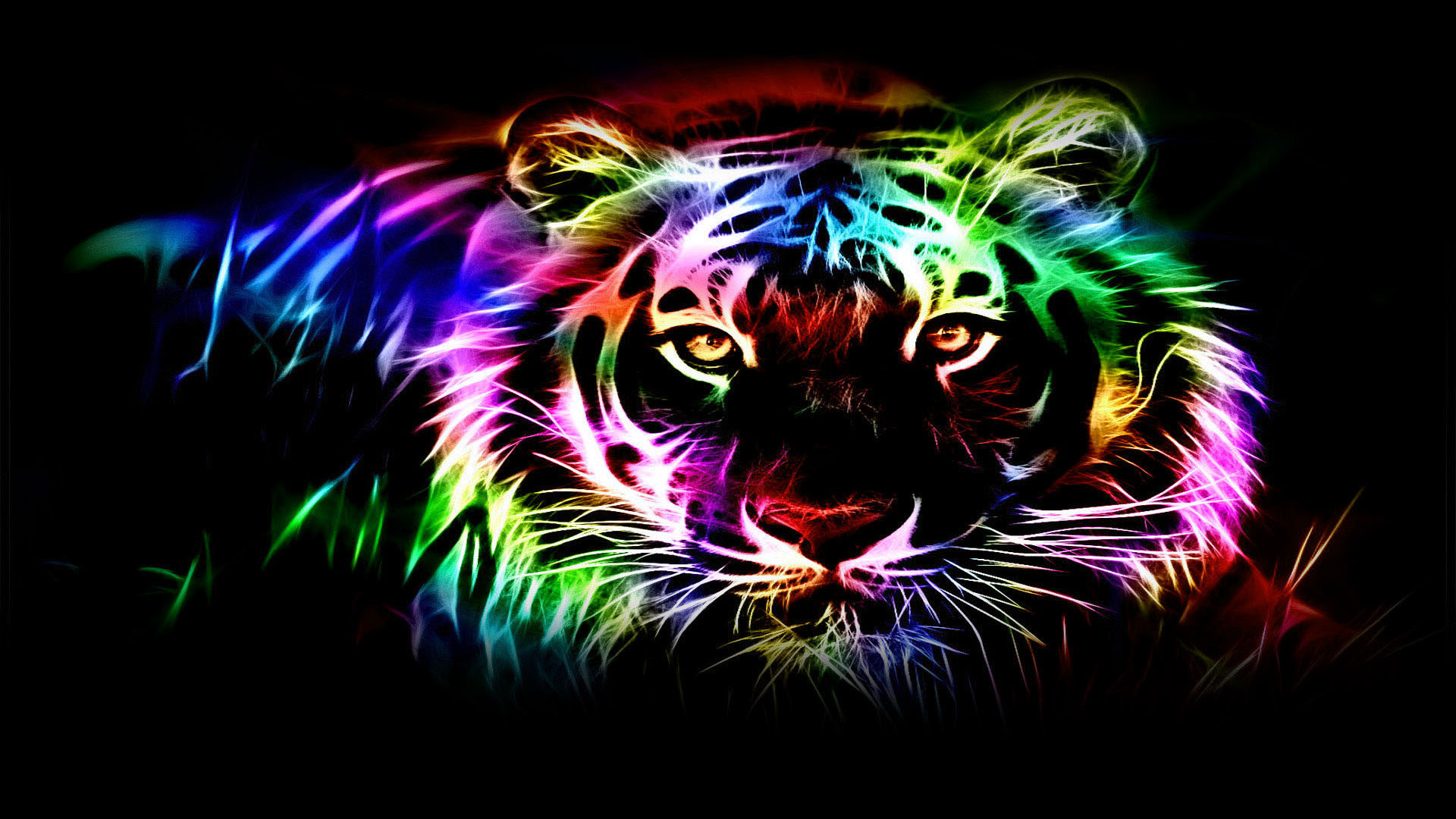 Tiger neon wallpapers. Tiger abstract picture