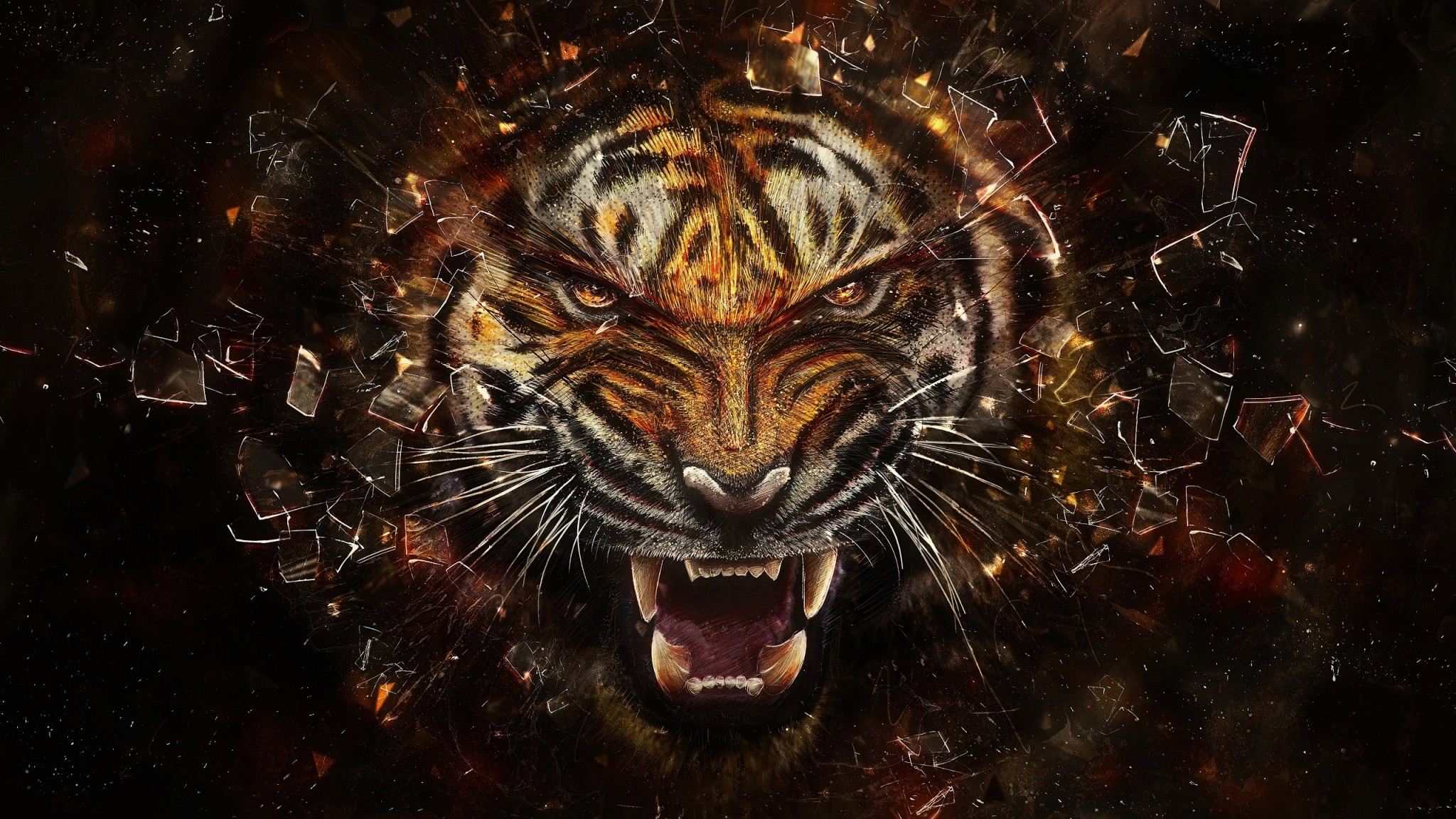 Preview wallpaper tiger, glass, shards, aggression, teeth 2048×1152