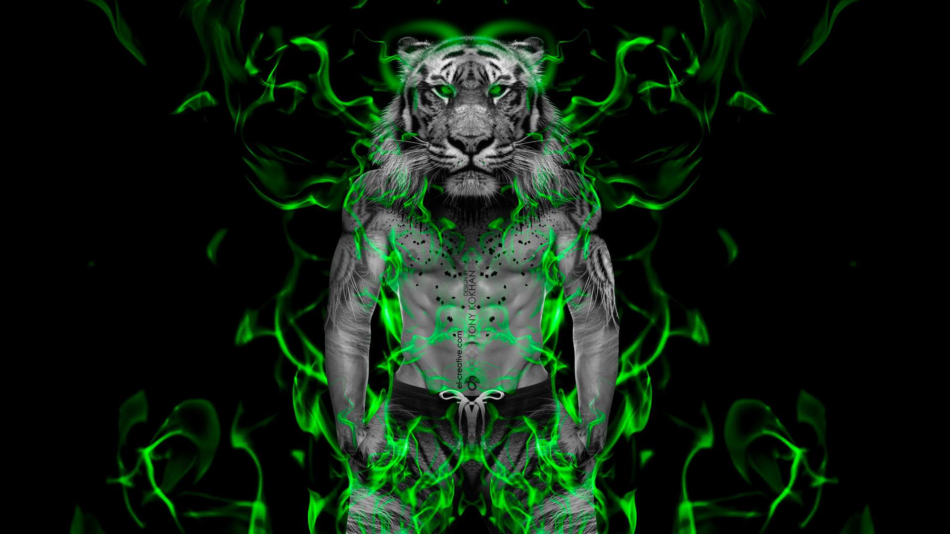 … Fantasy-Muscle-Fire-Boy-Tiger-2014-Green-Neon- …