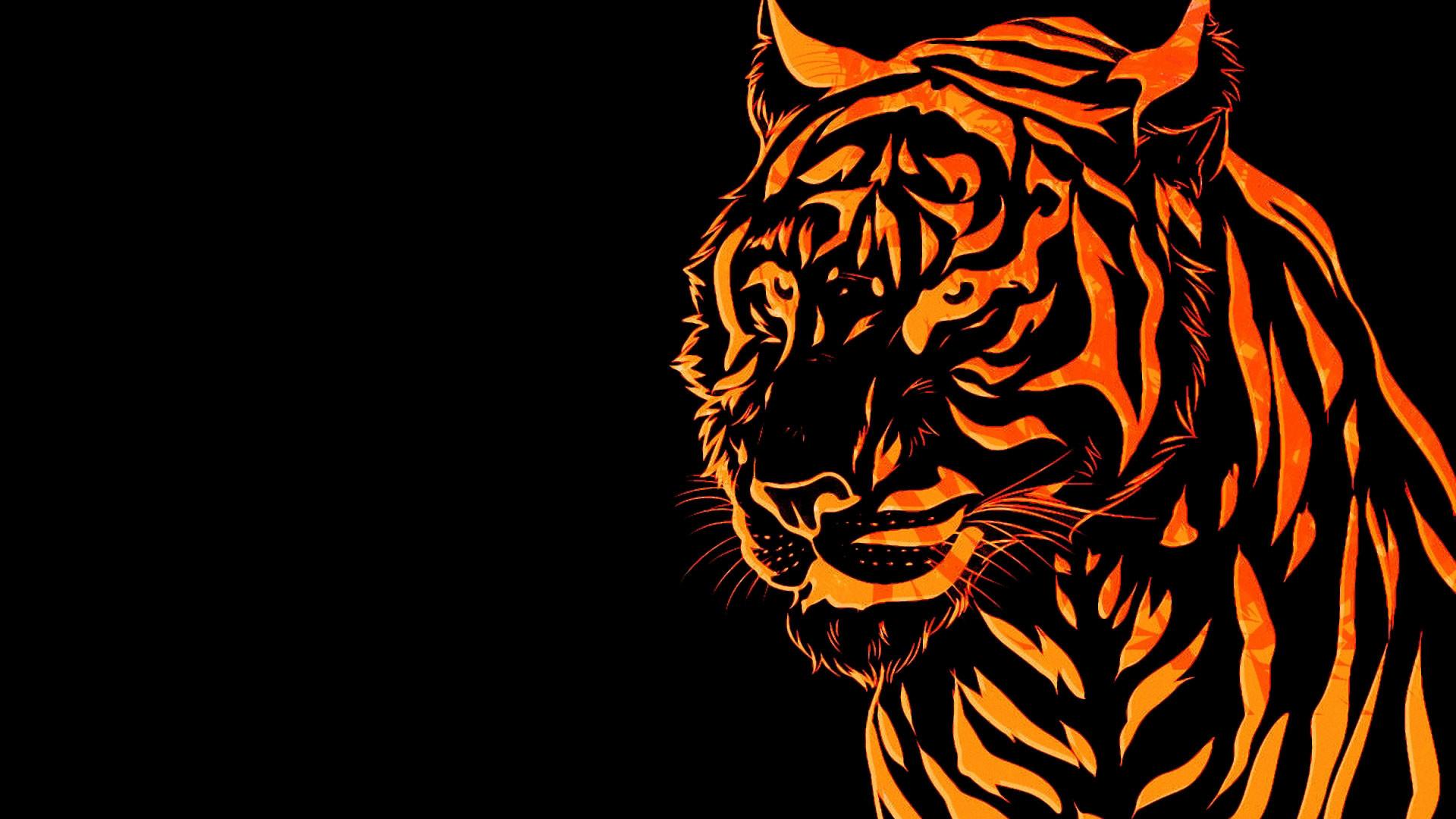hd pics photos beautiful tiger skin lines orange neon hd quality desktop  background wallpaper