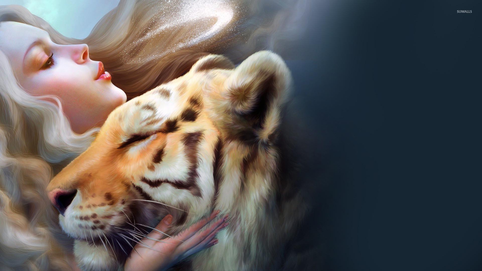 Girl with pet tiger wallpaper jpg