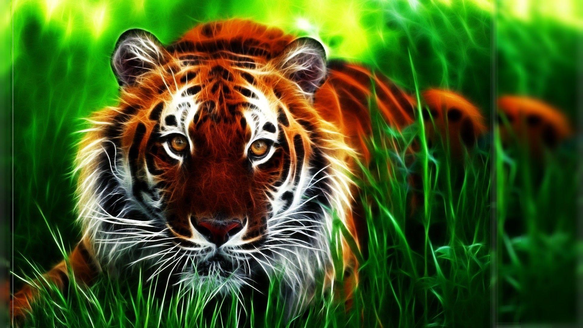 D Tiger Photoshop fractal wallpaper Green Tiger Wallpapers Wallpapers)