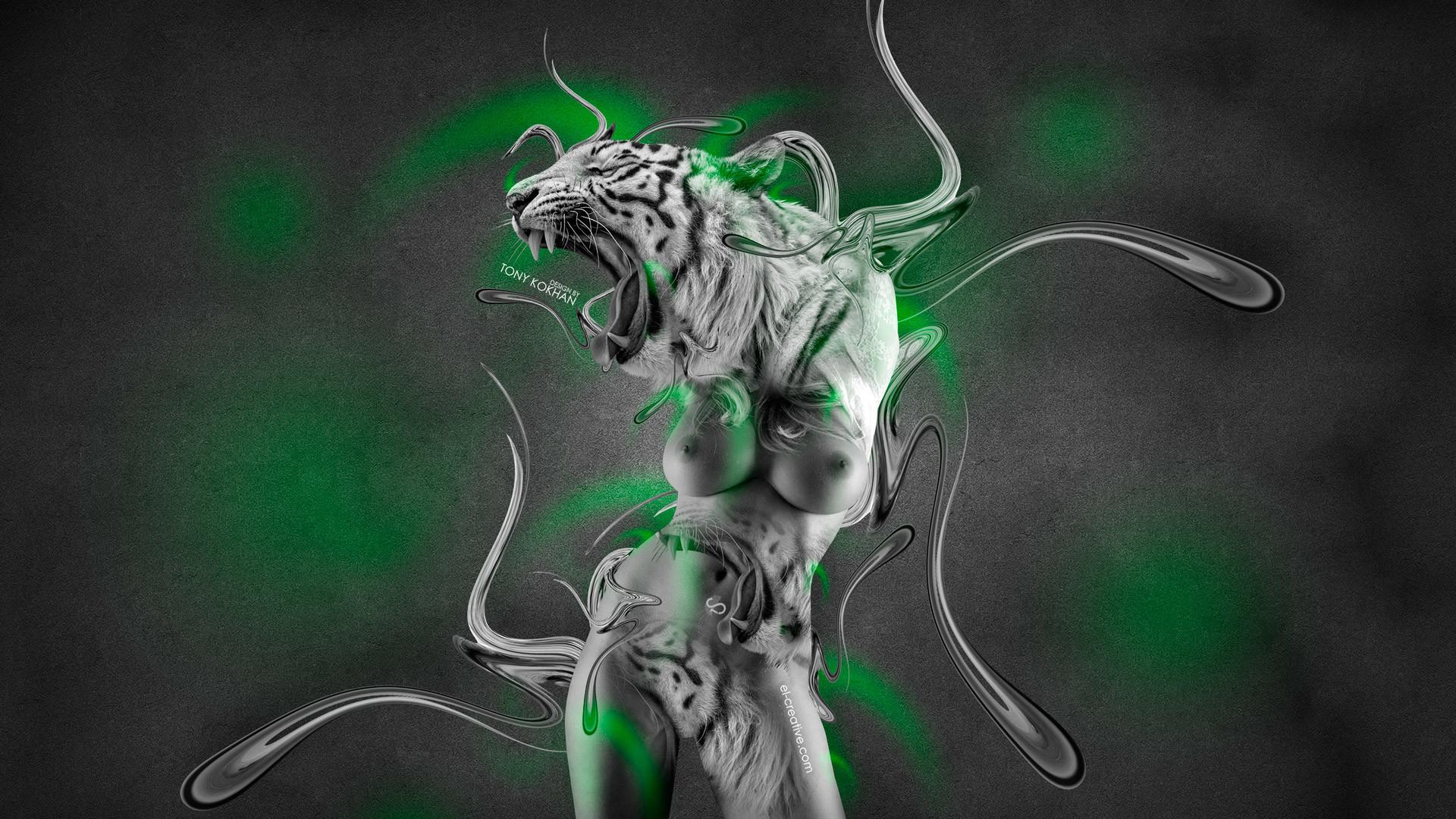 … Fantasy-Tiger-Plastic-Blonde-Girl-2014-Green-Neon- …