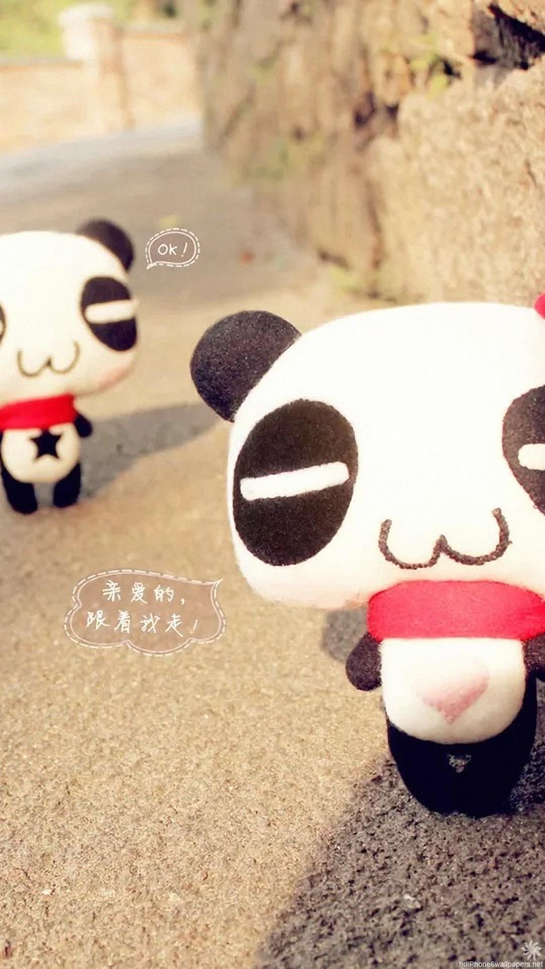 panda cute love iPhone 6 wallpapers HD – 6 Plus backgrounds