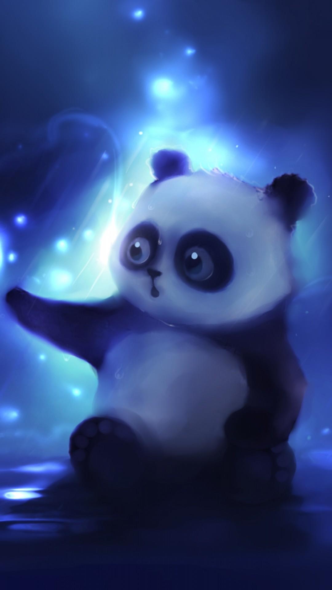 Preview wallpaper panda, art, apofiss, night 1080×1920