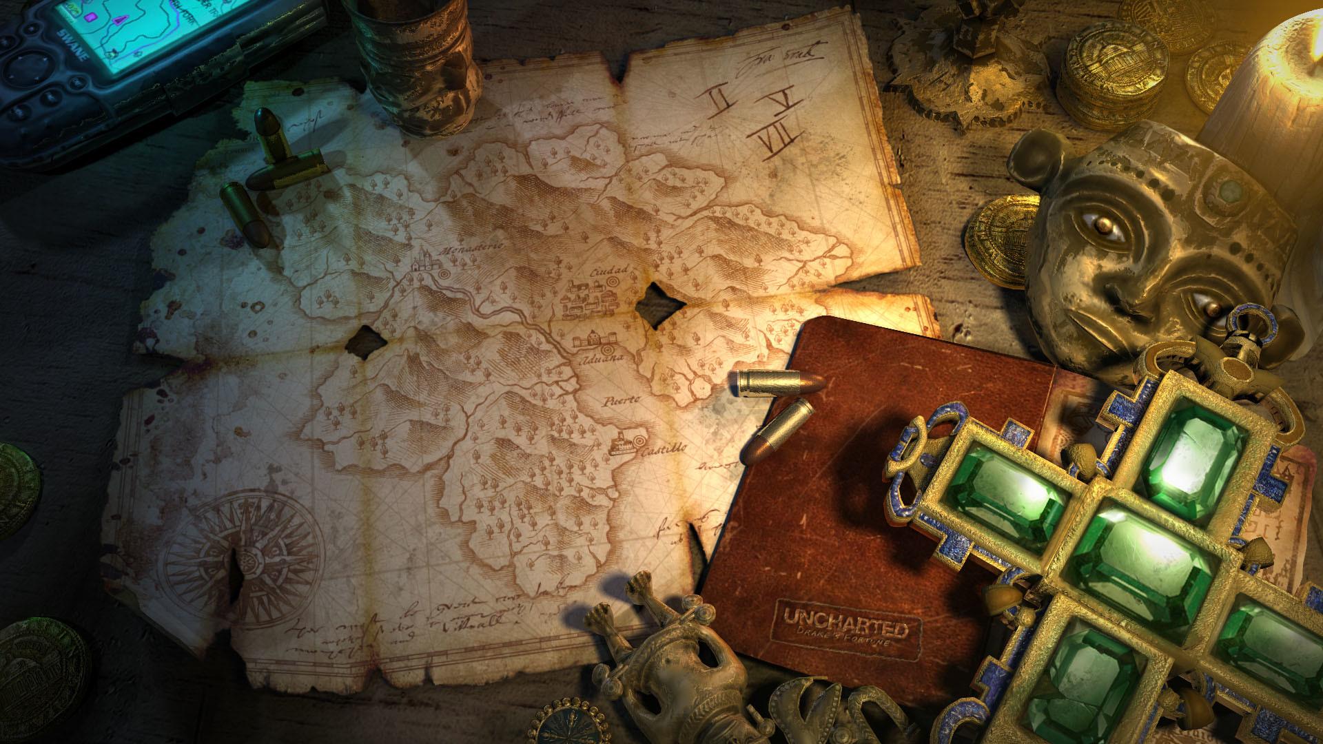 Maps Uncharted Nathan Drake treasure Playstation 3 wallpaper .