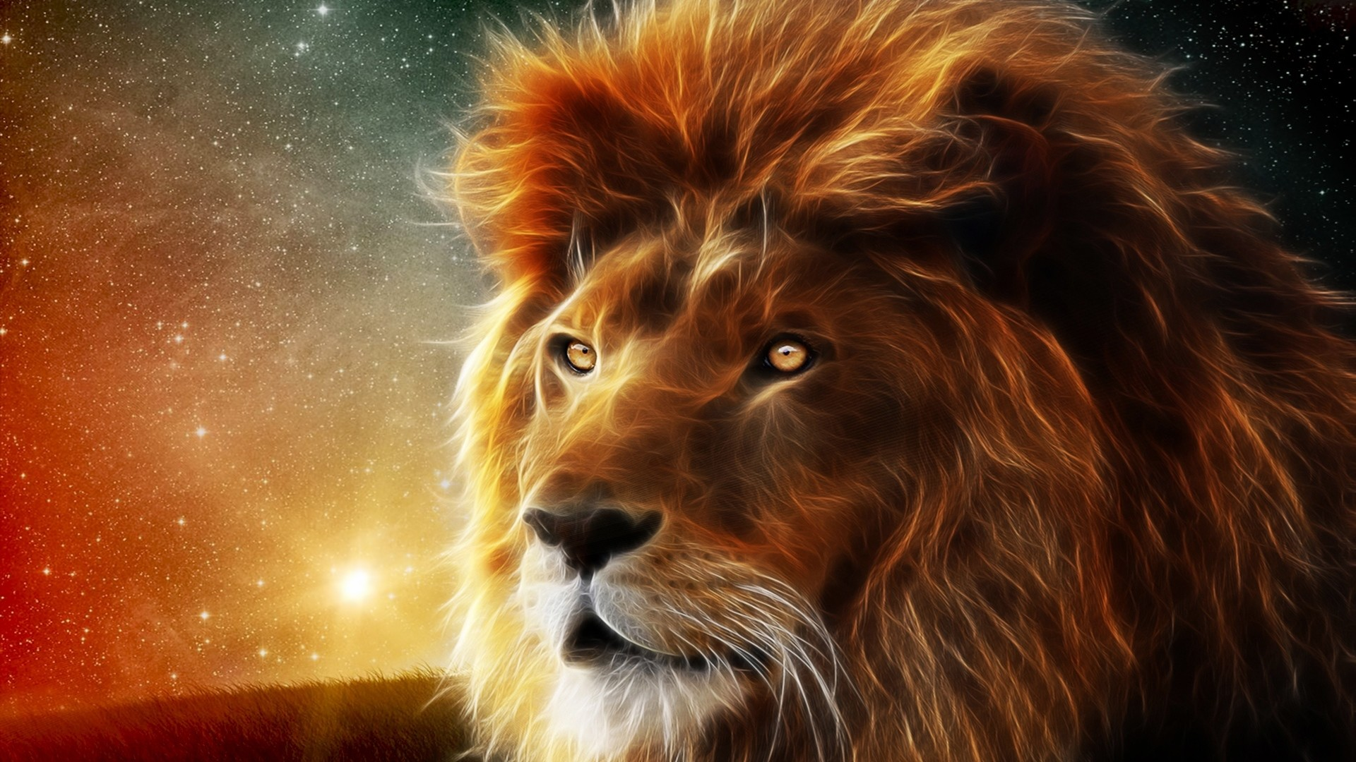 Preview wallpaper lion, face, mane, king of beasts, abstraction 1920×1080