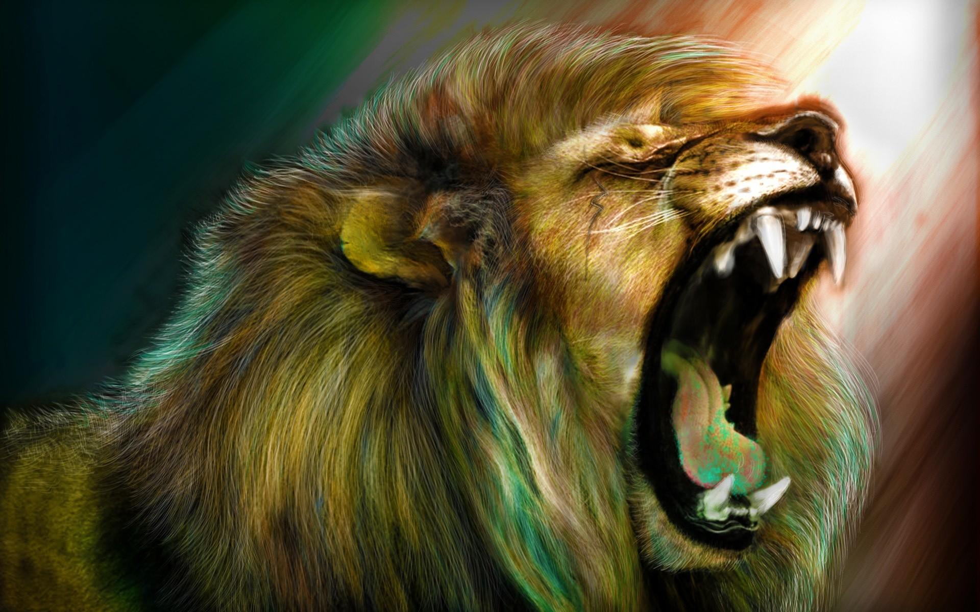 Lion Roaring Drawing