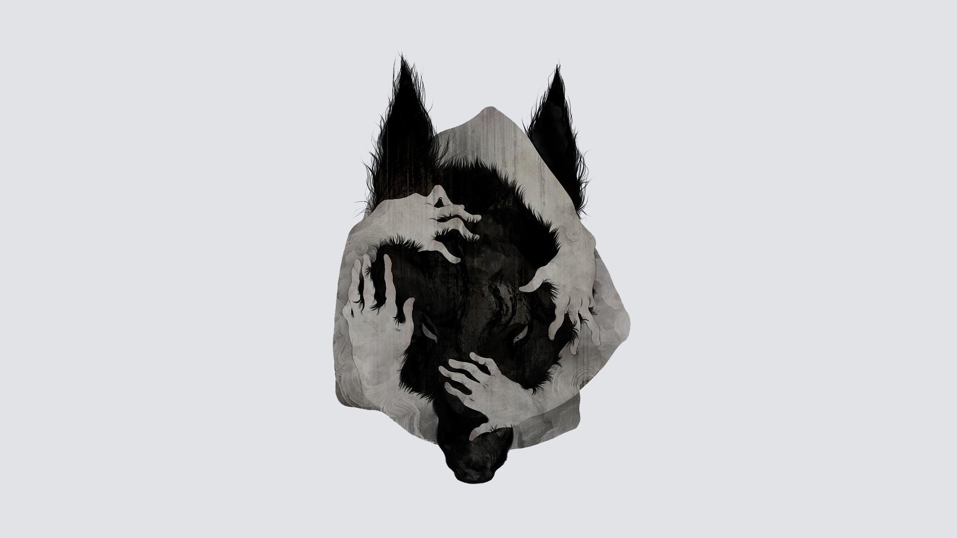 General wolf hands abstract white background