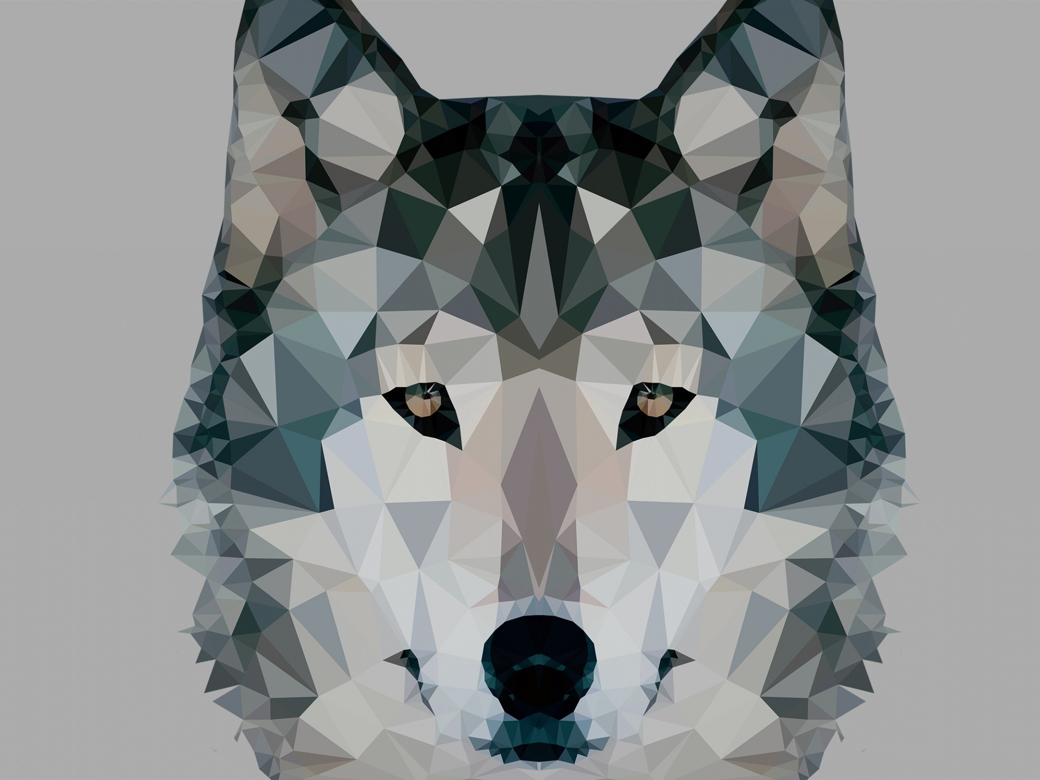 Abstract – Facets Wolf Wallpaper