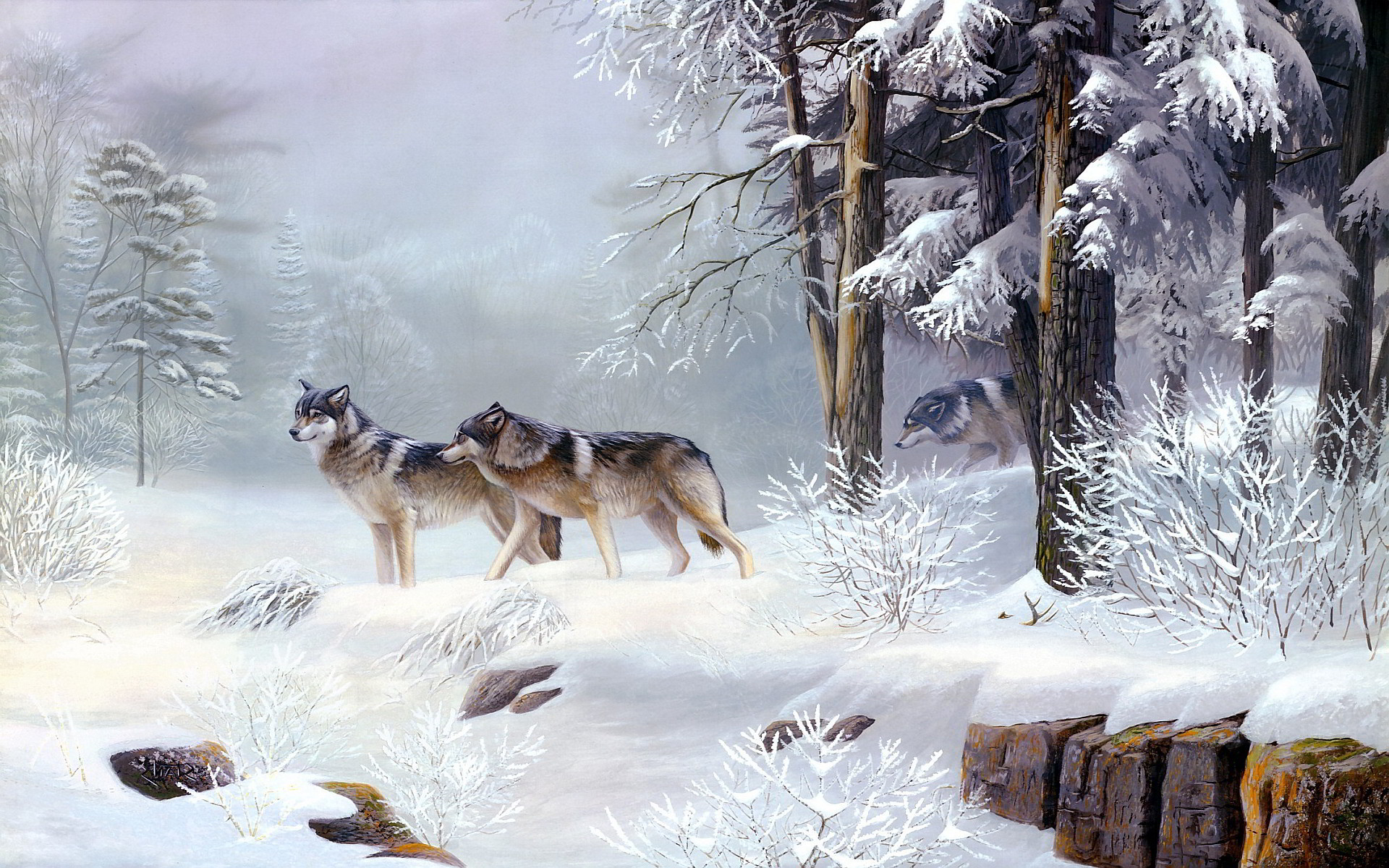Related Wallpapers from Abstract wolf art. Winter wolves art